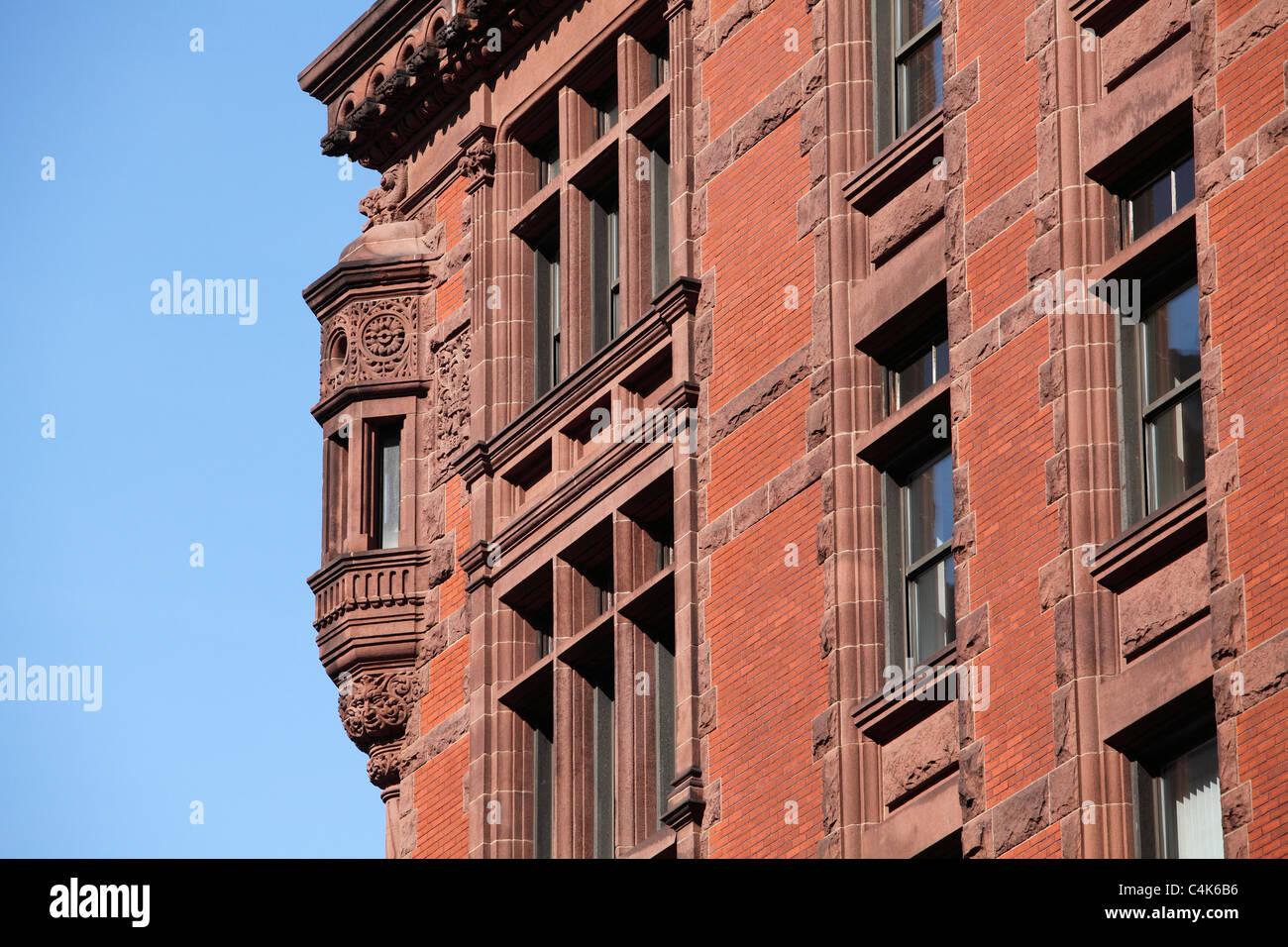 Ornate red brick building in Boston - Stock Image