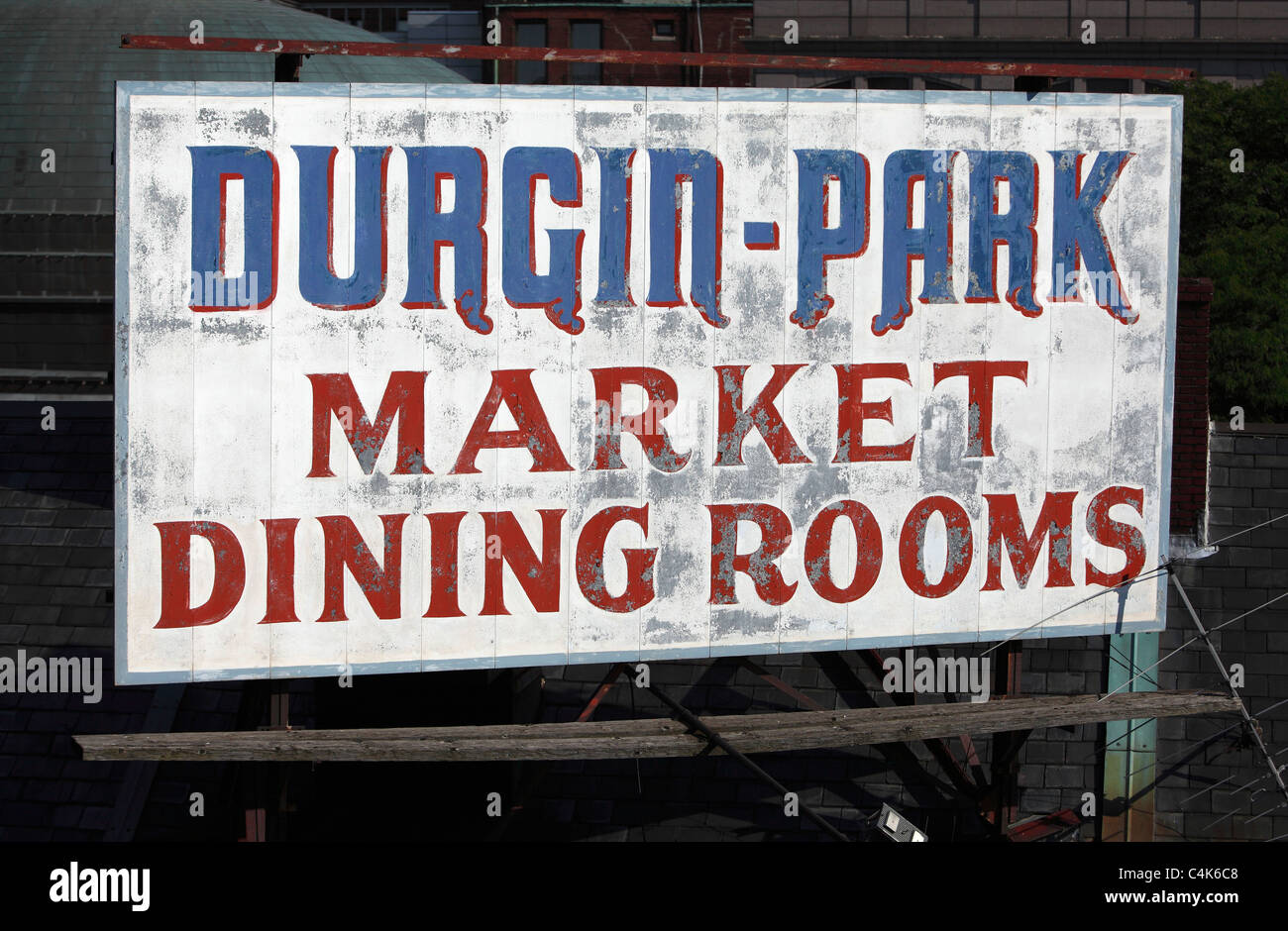 faded sign for Durgin Park restaurant on the the top of Quincy Market building - Stock Image