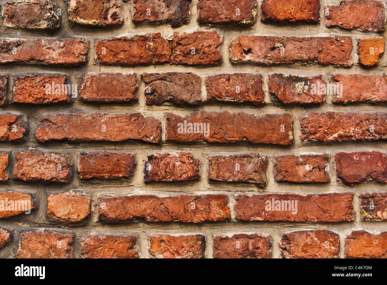 Detailansicht einer Ziegelmauer   Detail photo of a brick wall - Stock Image