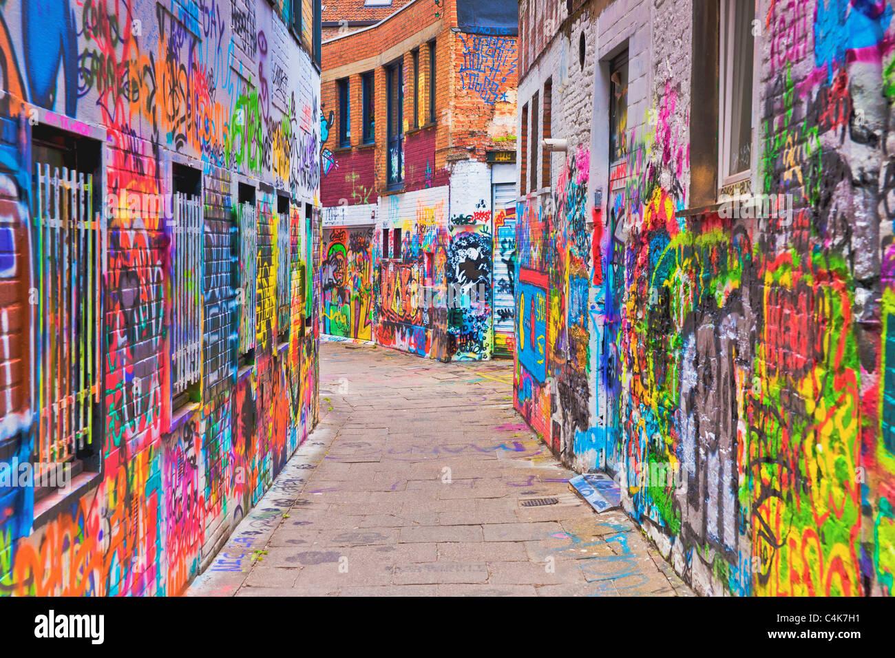 Graffitistrasse, Gent | graffiti street, Ghent - Stock Image