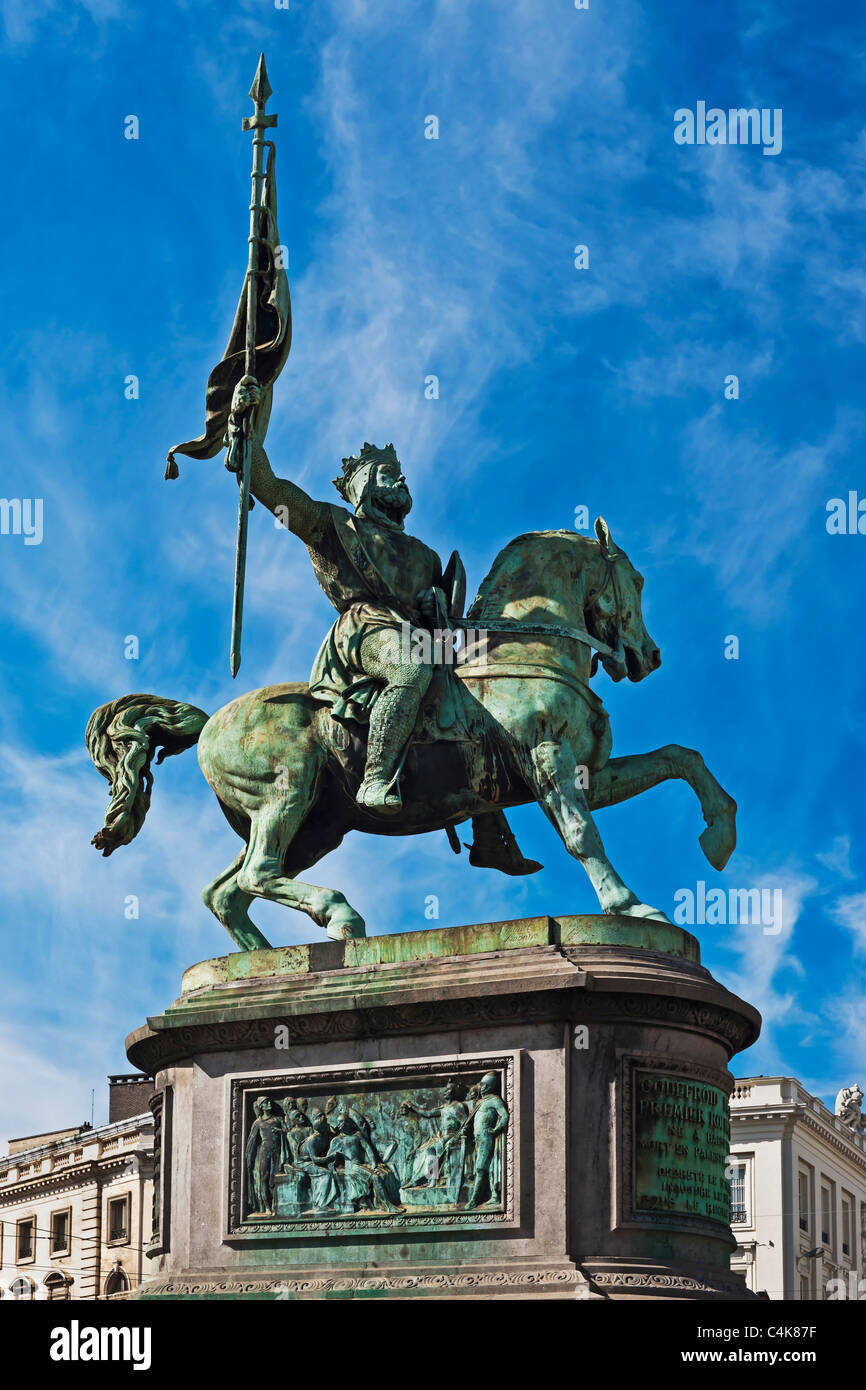Statue of Godfrey of Bouillon, lived from 1060 to 1100, in front of the royal palace in Brussels, Belgium, Europe Stock Photo