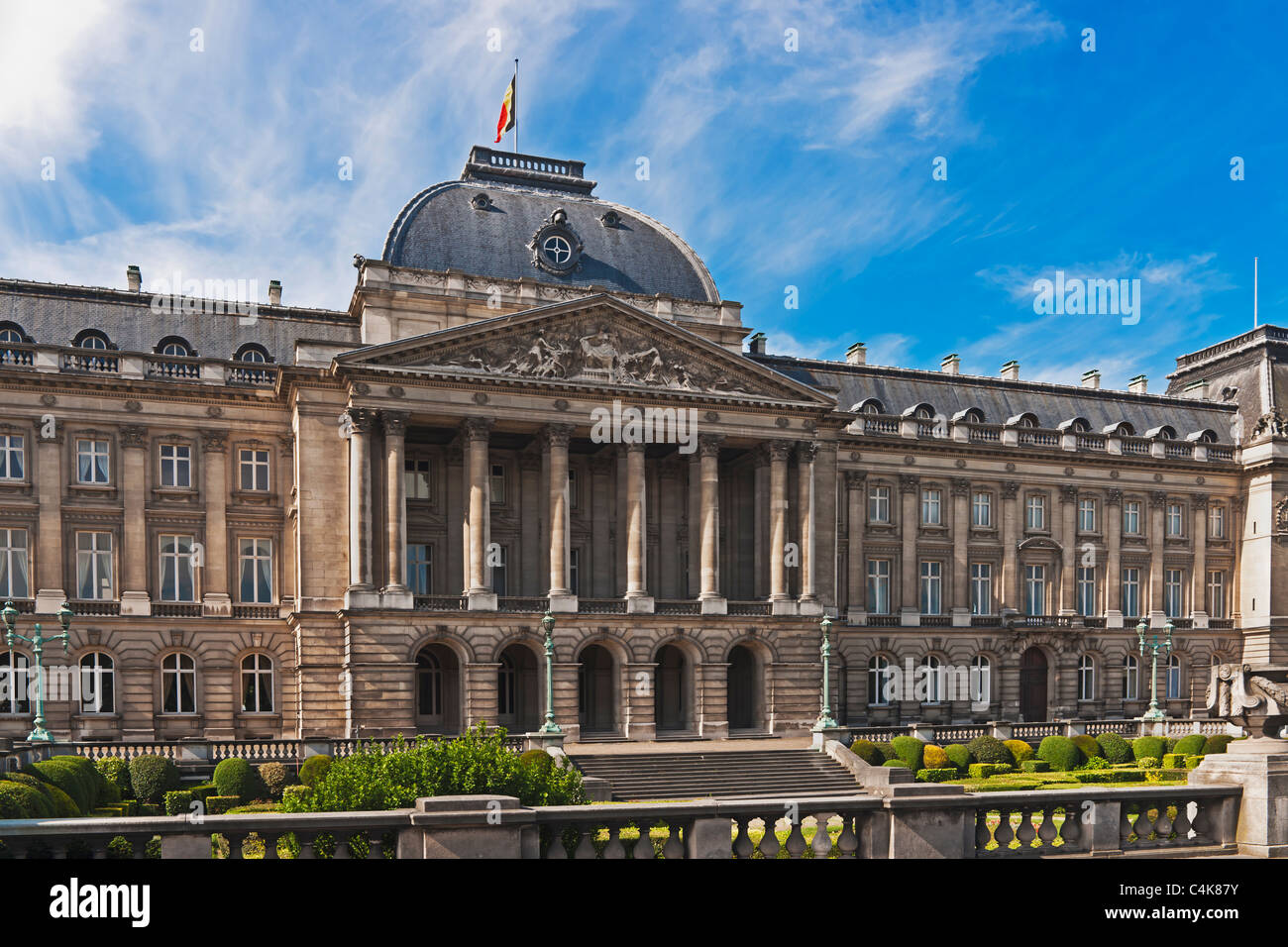 The Royal Palace, is the official palace of the King of the Belgians, Brussels, Belgium, Europe - Stock Image