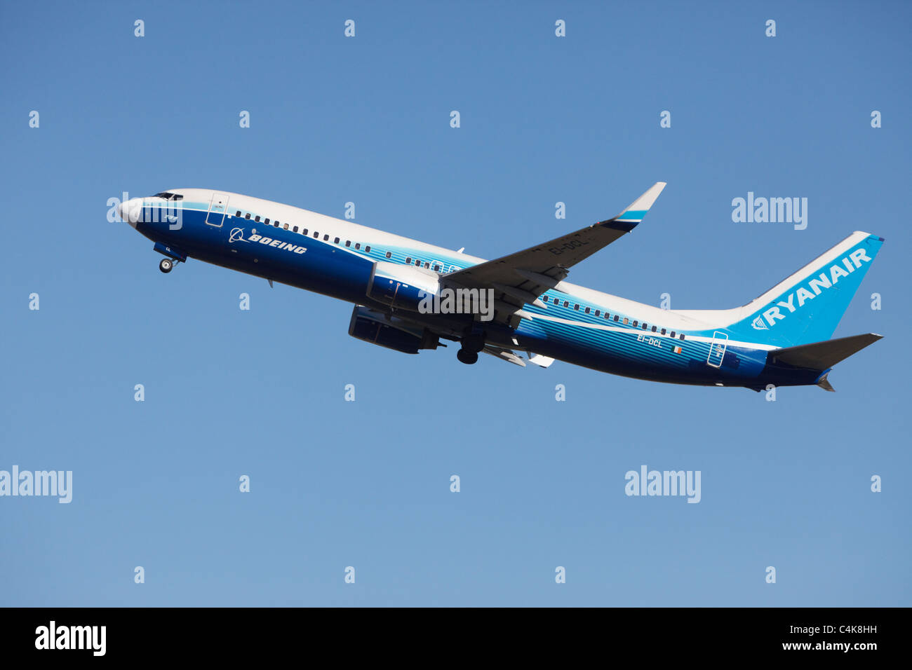 Ryanair Boeing 737-800 in Boeing Dreamliner colors climbing after taking off from runway - Stock Image