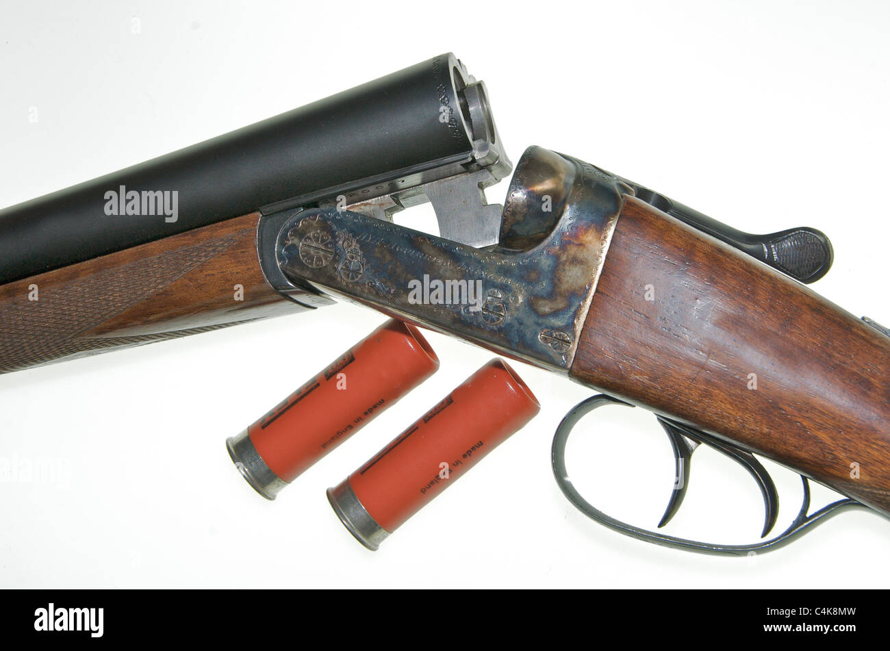A 12 gauge bore shotgun. This is an AYA No 4 Boxlock side-by