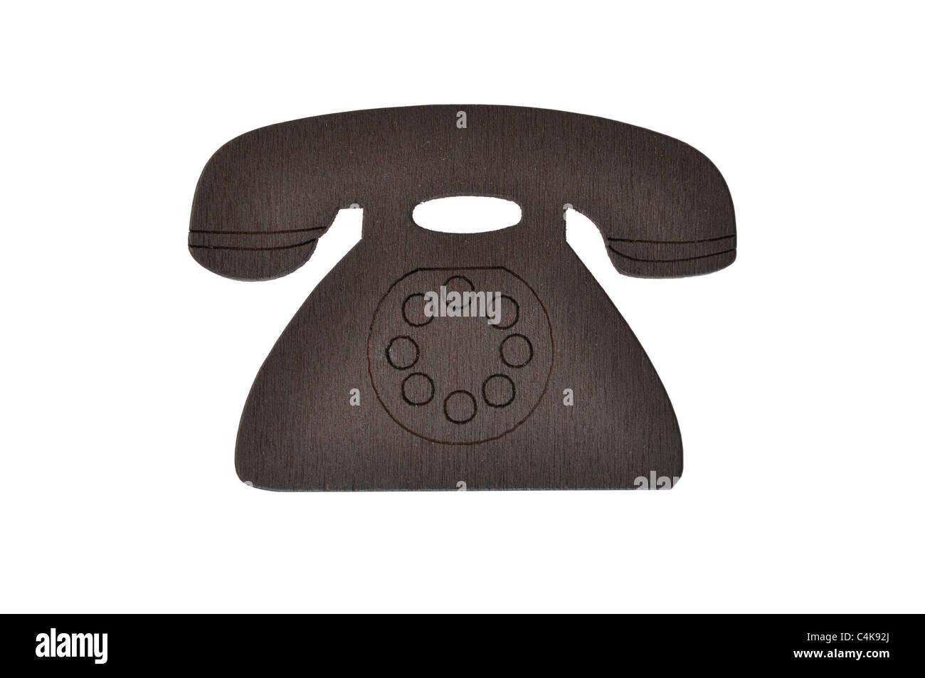Wood fridge magnet phone Stock Photo