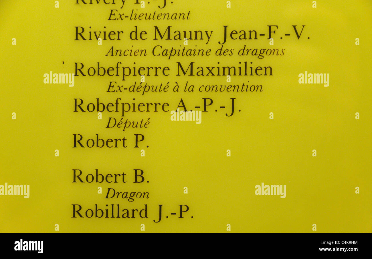 Robespierre's name on the list of victims of the French Revolution in La Conciergerie in Paris, France - Stock Image