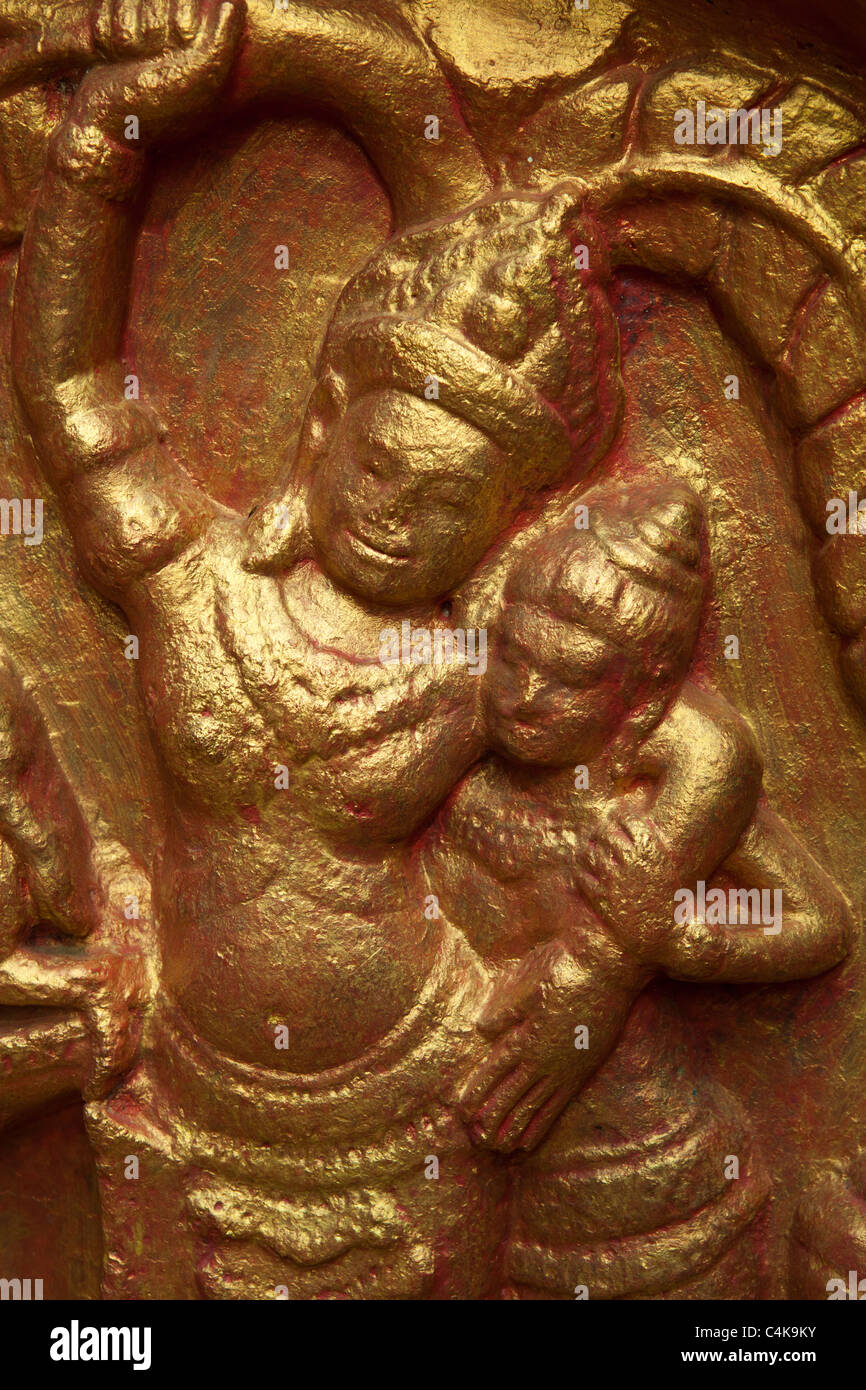 Cambodia Bas Reliefs at Wat Phnom - Stock Image