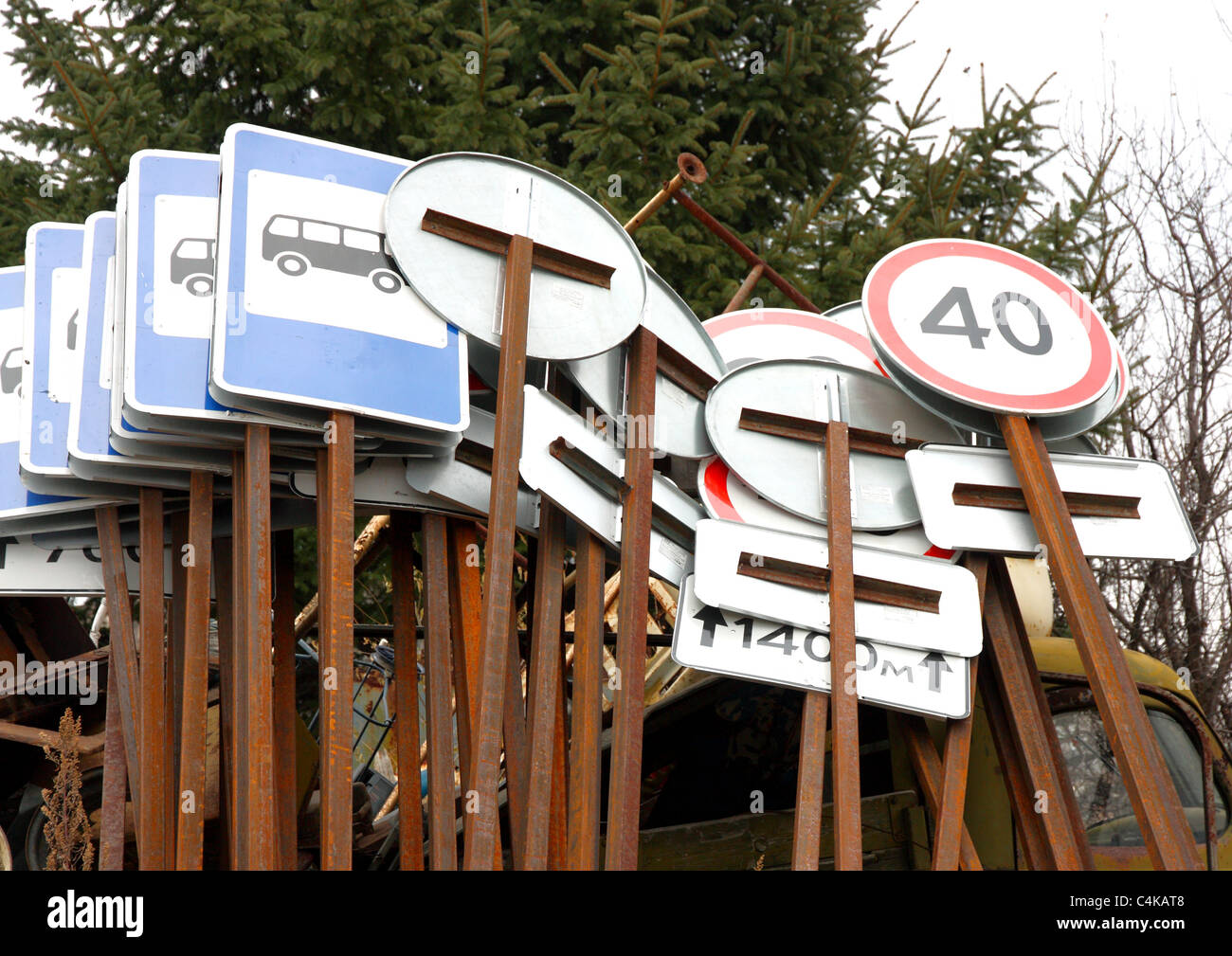 Set of different traffic signs lie in one place Stock Photo