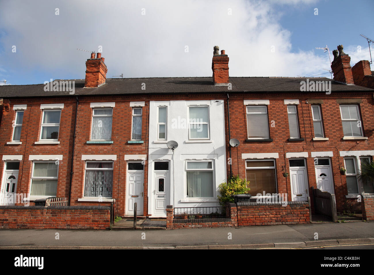 Terraced houses in Arnold, Nottingham, England, U.K. Stock Photo