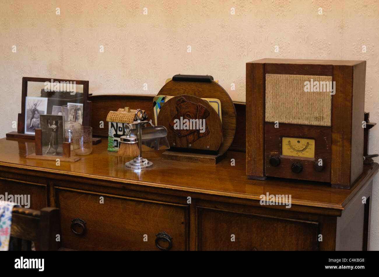 Sideboard in a traditional British home in the 1930s Stock Photo