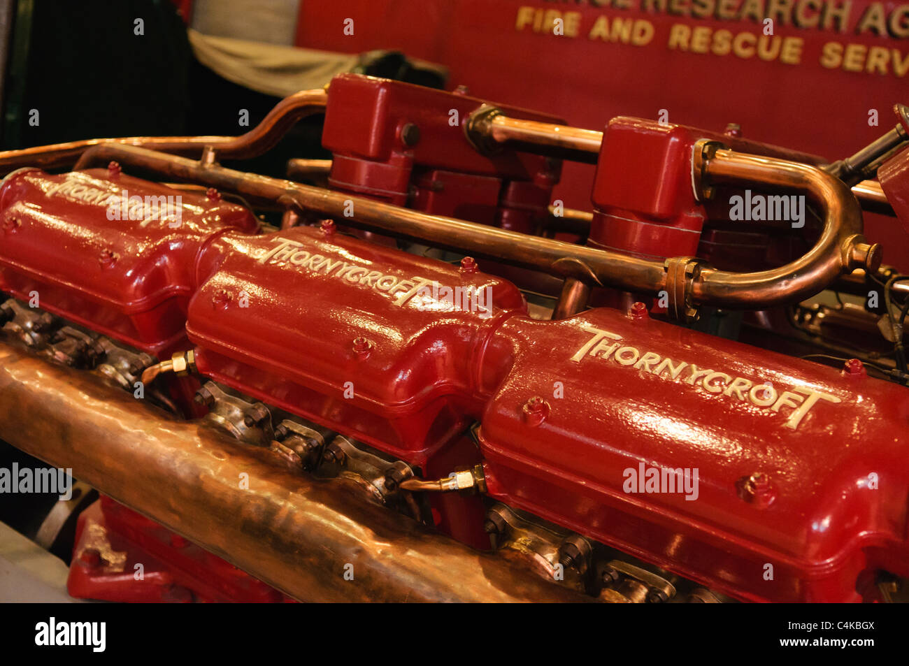 Thornycroft engine from an old fire engine Stock Photo
