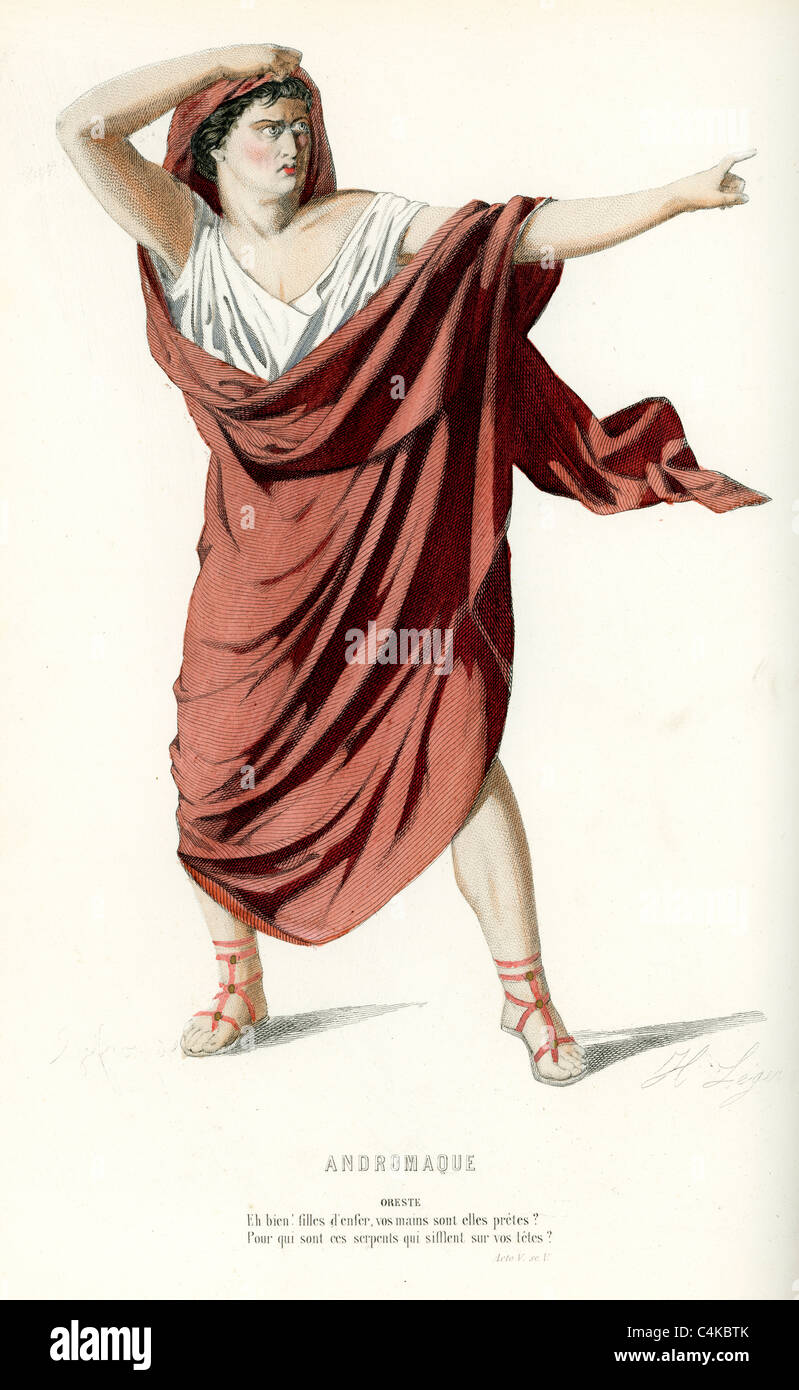 Oreste, or Orestes, son of Agamemnon, from the play Andromaque by Jean Racine. - Stock Image