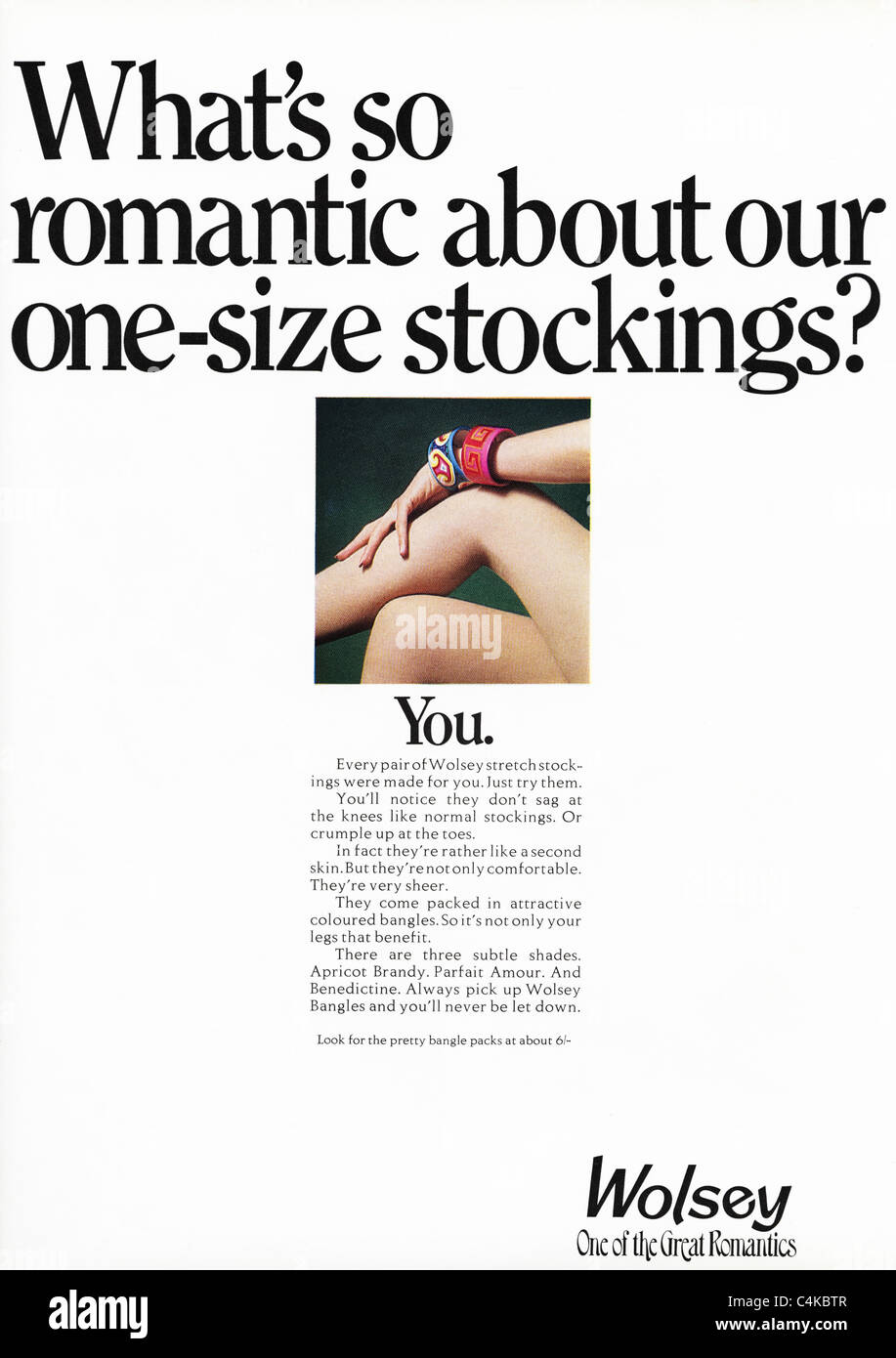 Full page original advertisement in fashion magazine circa 1969 for WOLSEY stockings - Stock Image