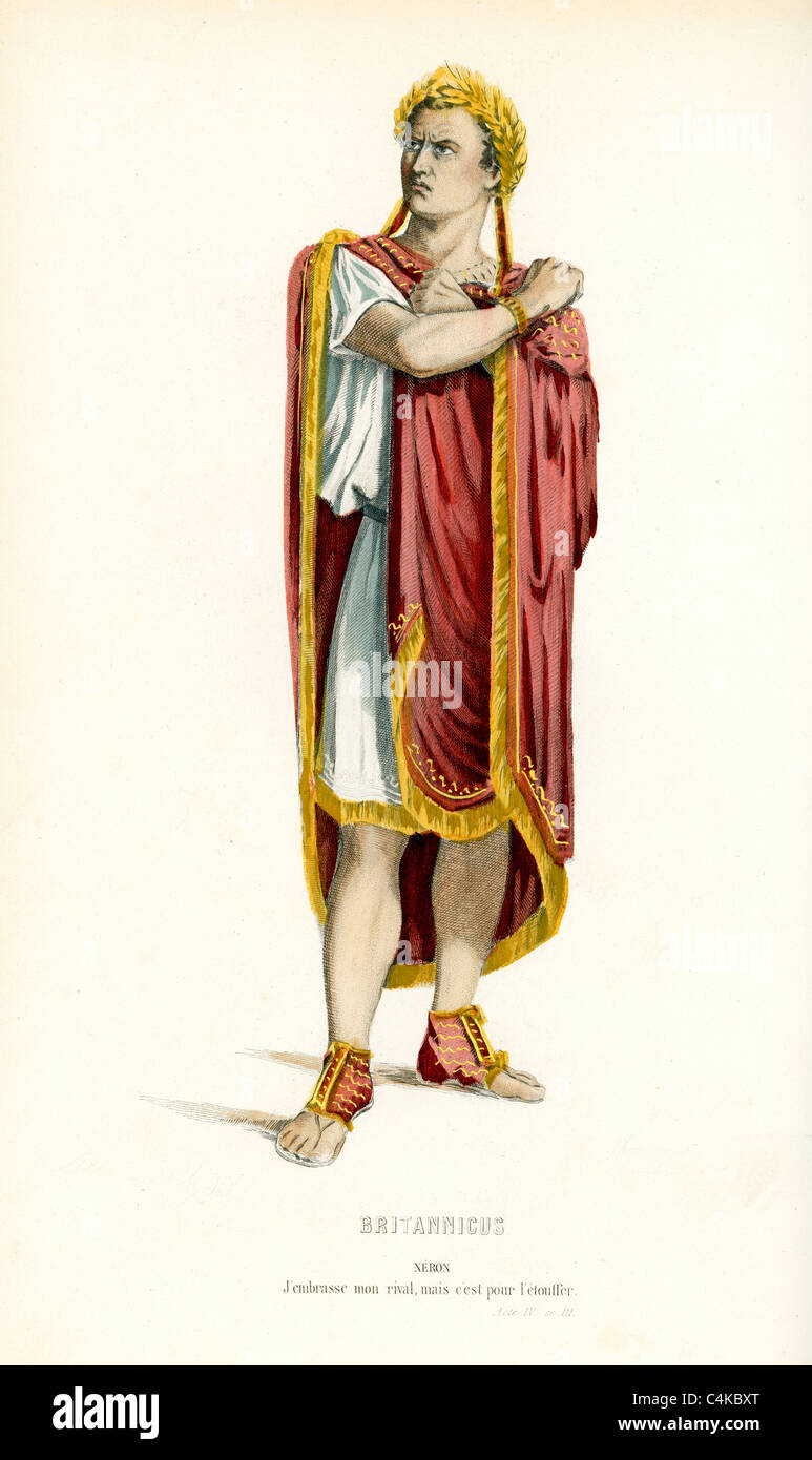 Nero Roman Emperor from 54 to 68, from the play Britannicus by the French dramatist Jean Racine. - Stock Image
