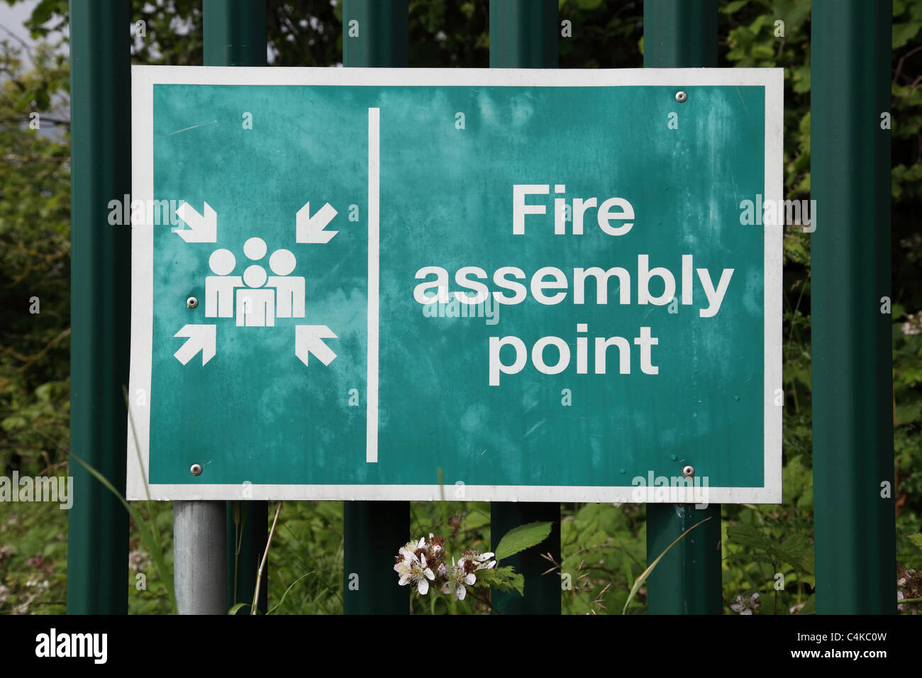 A fire assembly point sign in the U.K. - Stock Image