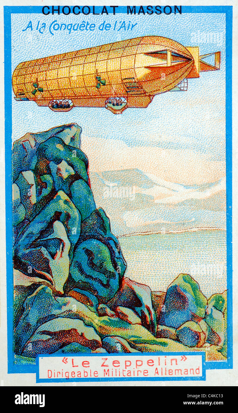 1920s Chocolat Masson vintage advertisement with zeppelin flying passengers over mountains and a lake - Stock Image