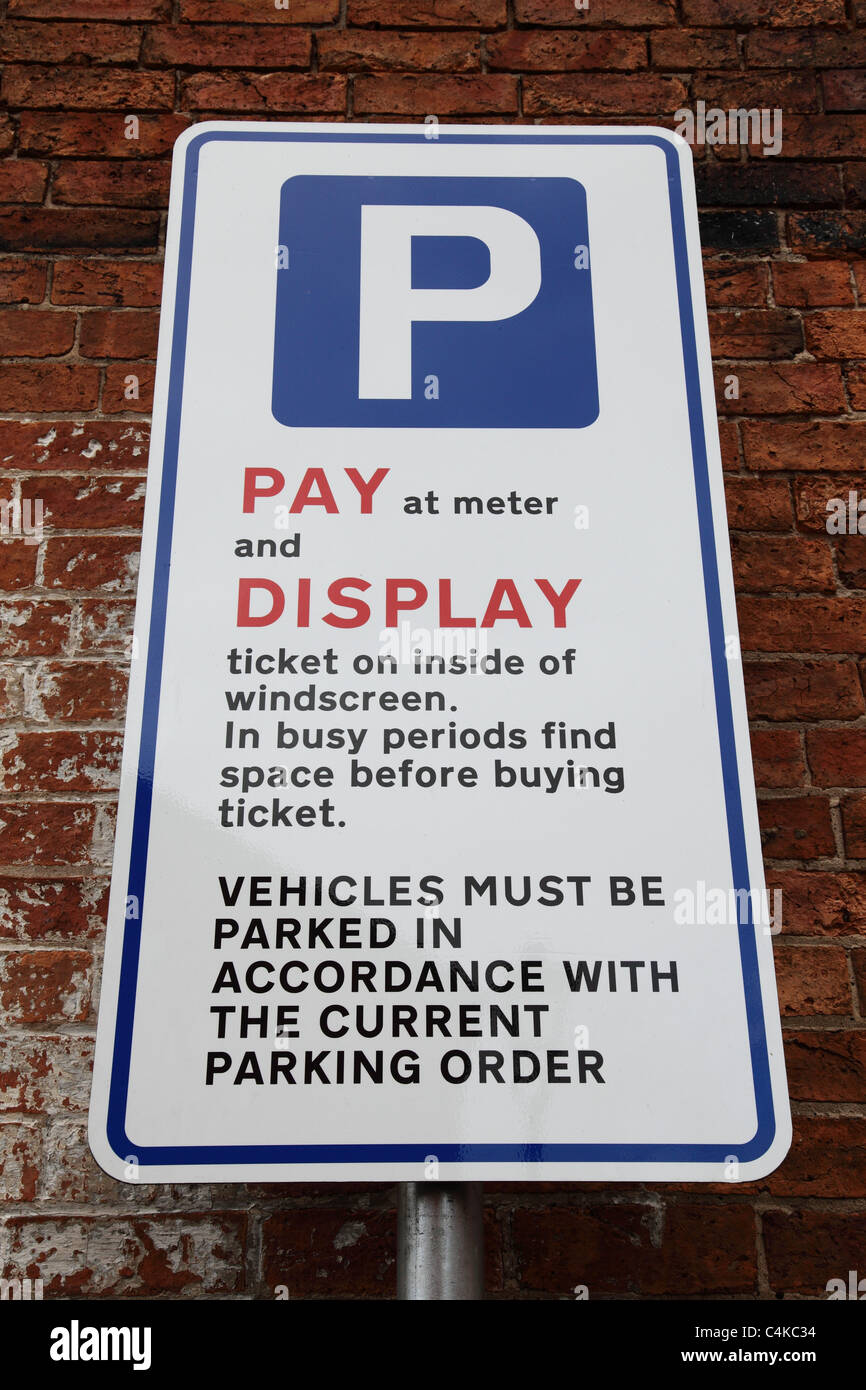 A pay and display car park sign in the U.K. - Stock Image