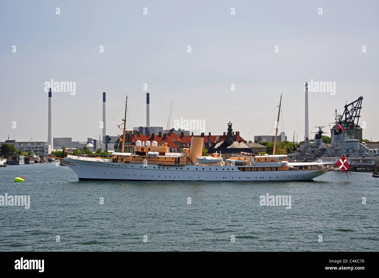 Her Danish Majesty's Yacht Dannebrog (A540) moored in harbour, Copenhagen, Hovedstaden Region, Denmark - Stock Image