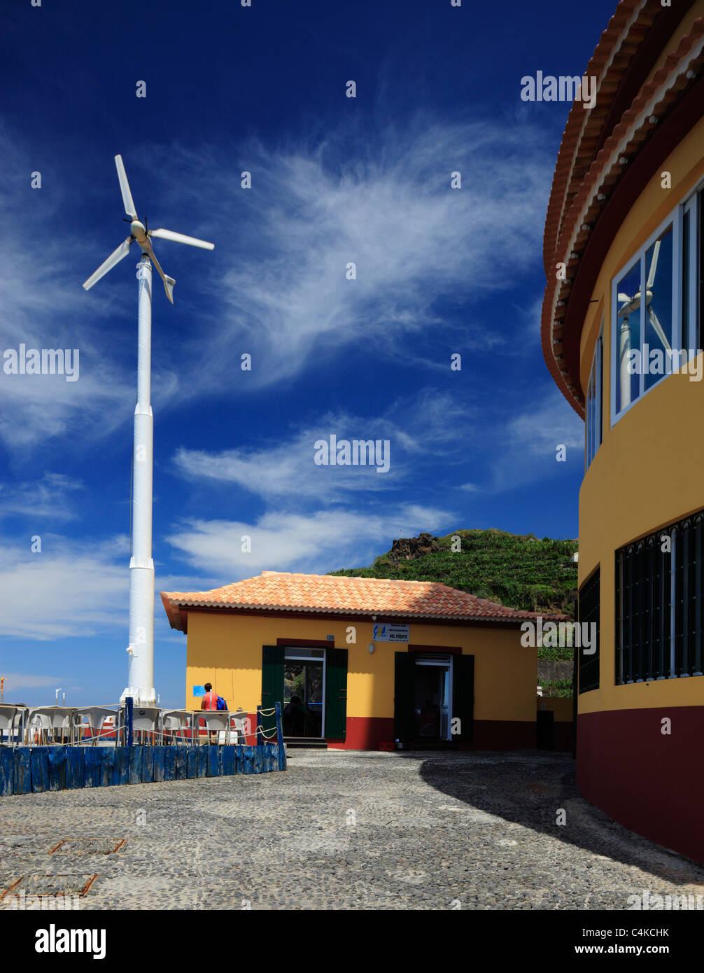 Restaurant with it's own wind turbine. Sol Poente, Ponta do Sol, Madeira. - Stock Image