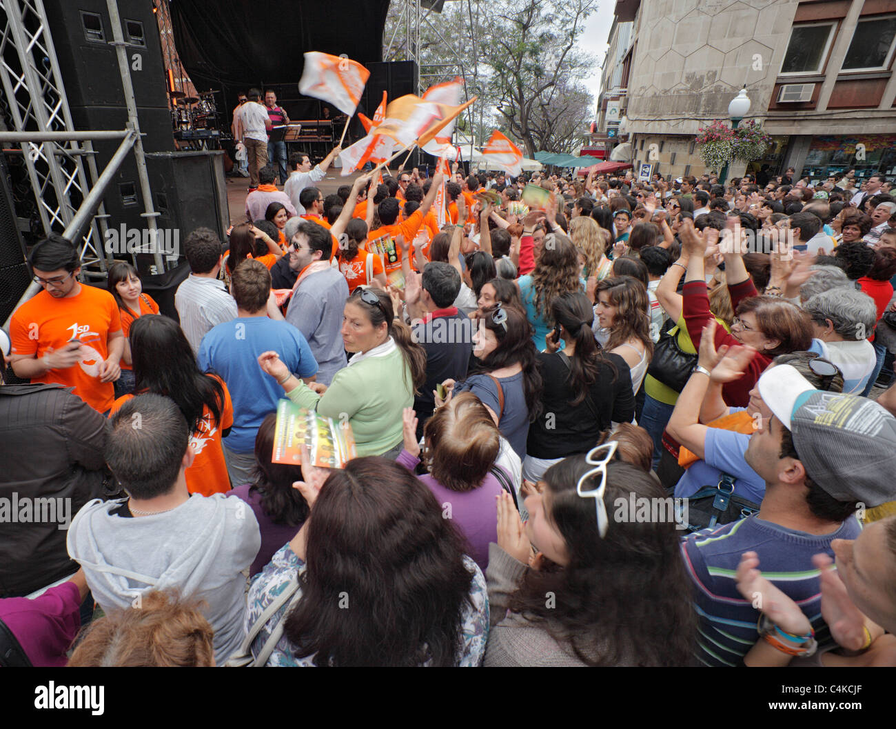 Political Rally for the Social Democratic Party, Funchal, Madeira. - Stock Image