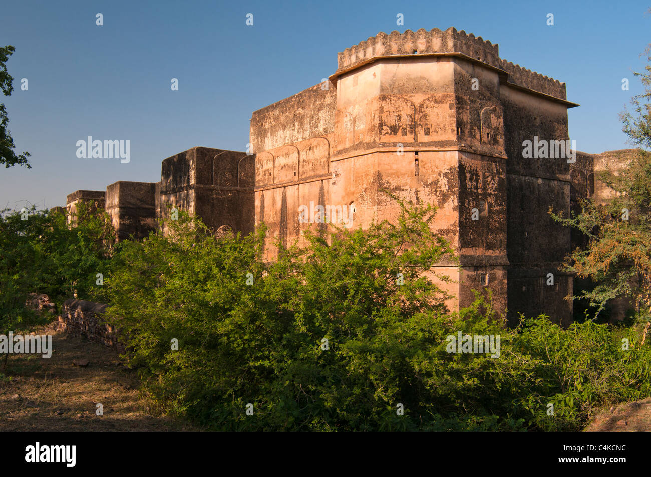 The Taragarh Fort, or 'Star Fort', It was constructed in AD 1354 upon the top of steep hillside overlooking - Stock Image