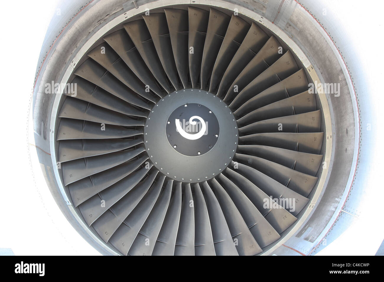 aircraft airplane turbine jet engine closeup - Stock Image