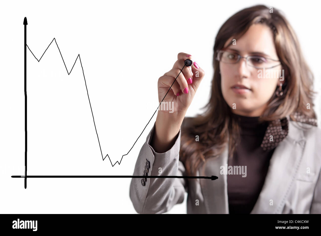 Business Woman Demonstrates that after a Moment of big Crisis comes an Exponential Growth - Stock Image