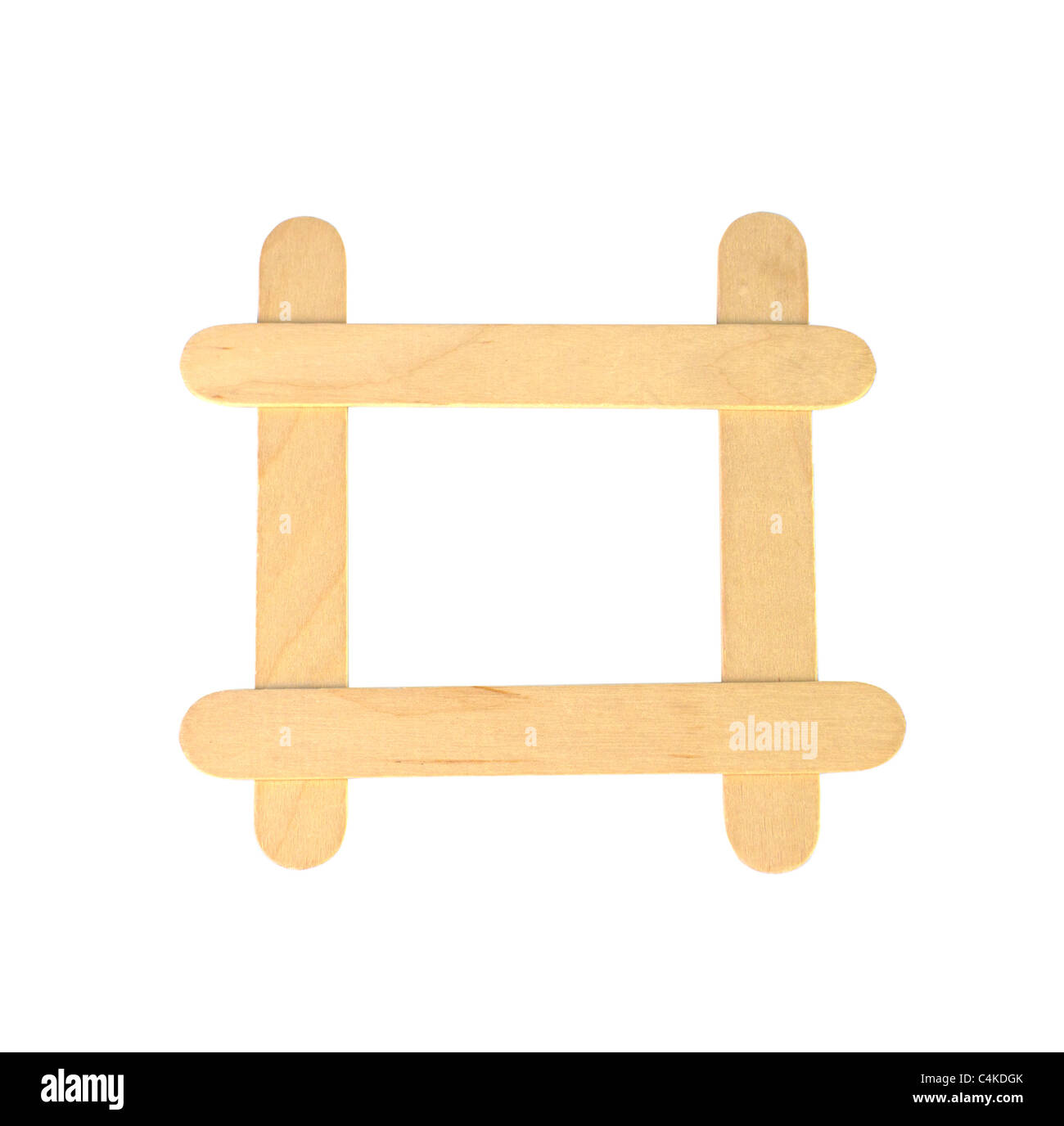 popsicle sticks arranged in a frame formation isolated on a white ...