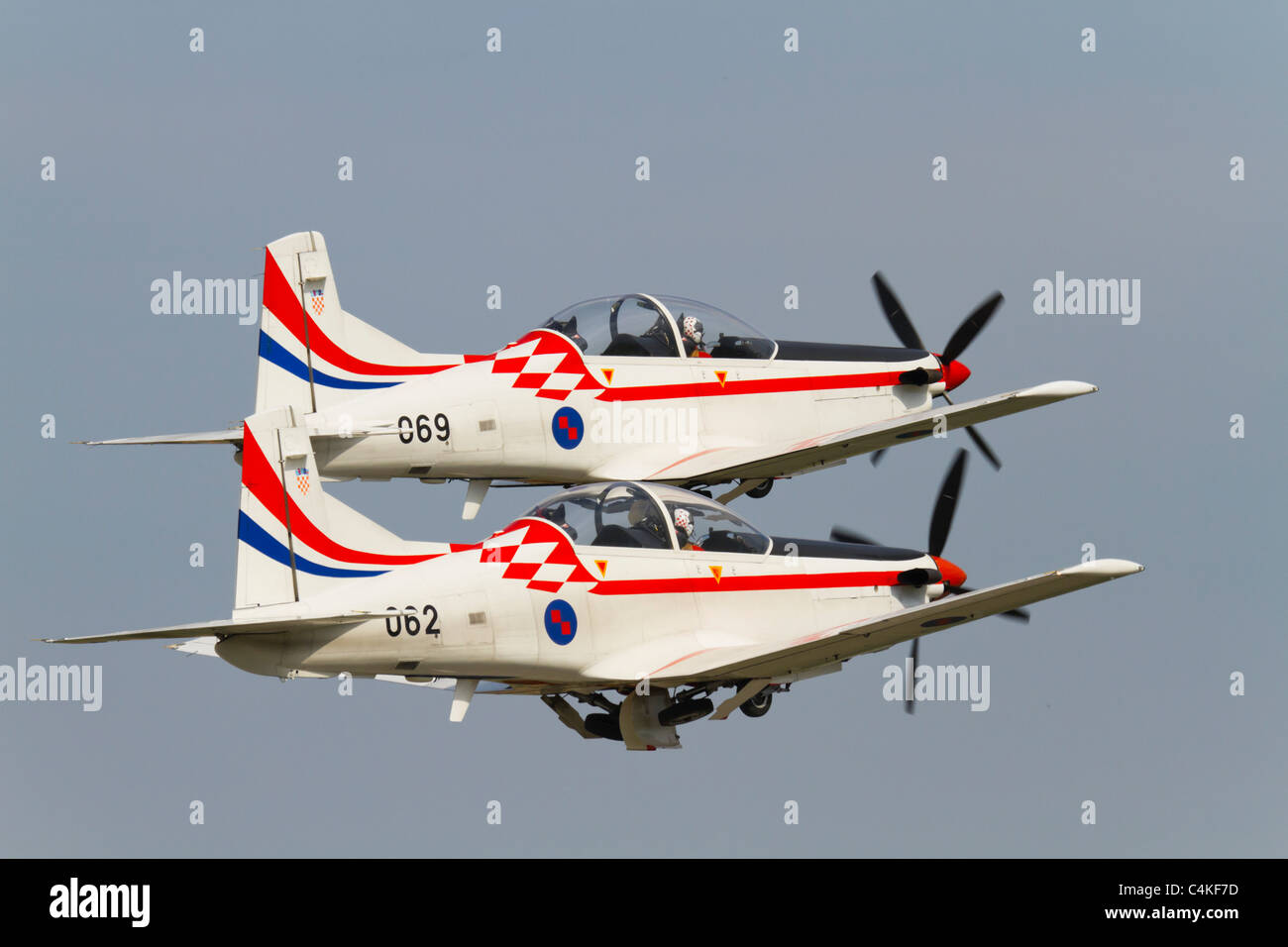 Pilatus PC-9 of 'Wings of storm' aerobatic group of Croatian air force - Stock Image