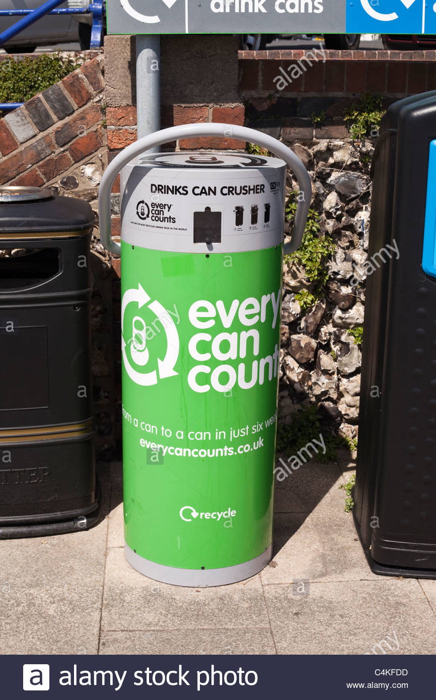 Can crusher recycling point - Stock Image