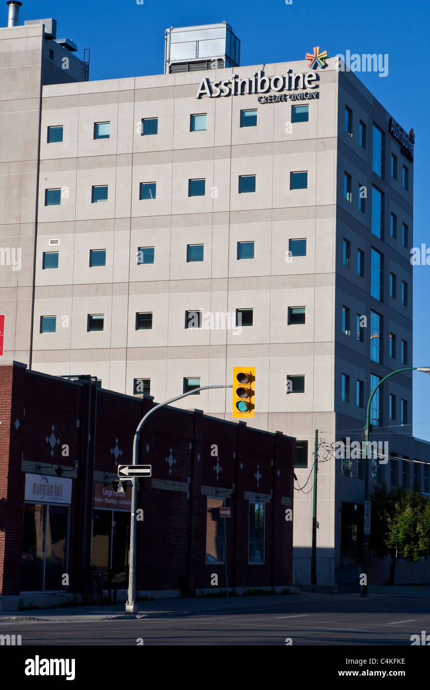 Assiniboine Credit Union logo is seen on a building in Winnipeg - Stock Image