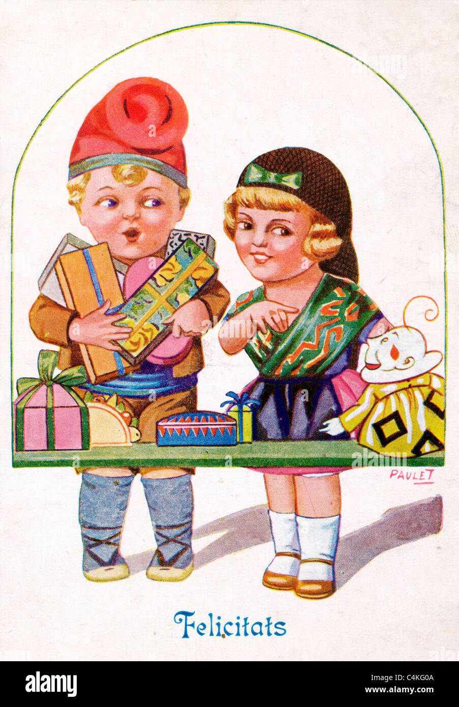 Spanish Felicitats Christmas greetings antique drawing of 1907 showing a girl and boy carrying presents - Stock Image