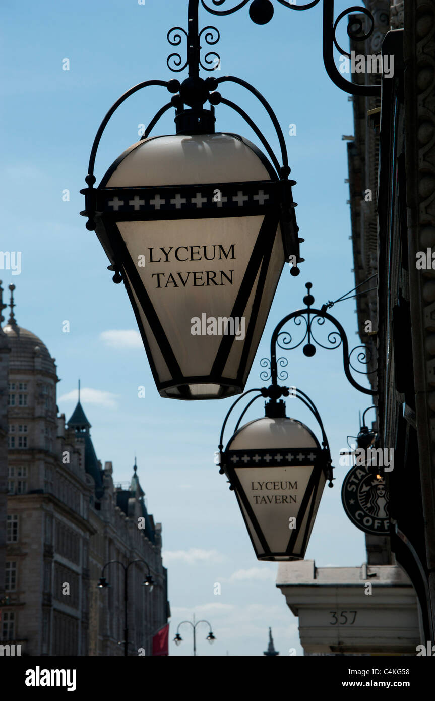 Lamps Outside The Lyceum Tavern Pub On Strand London England Uk