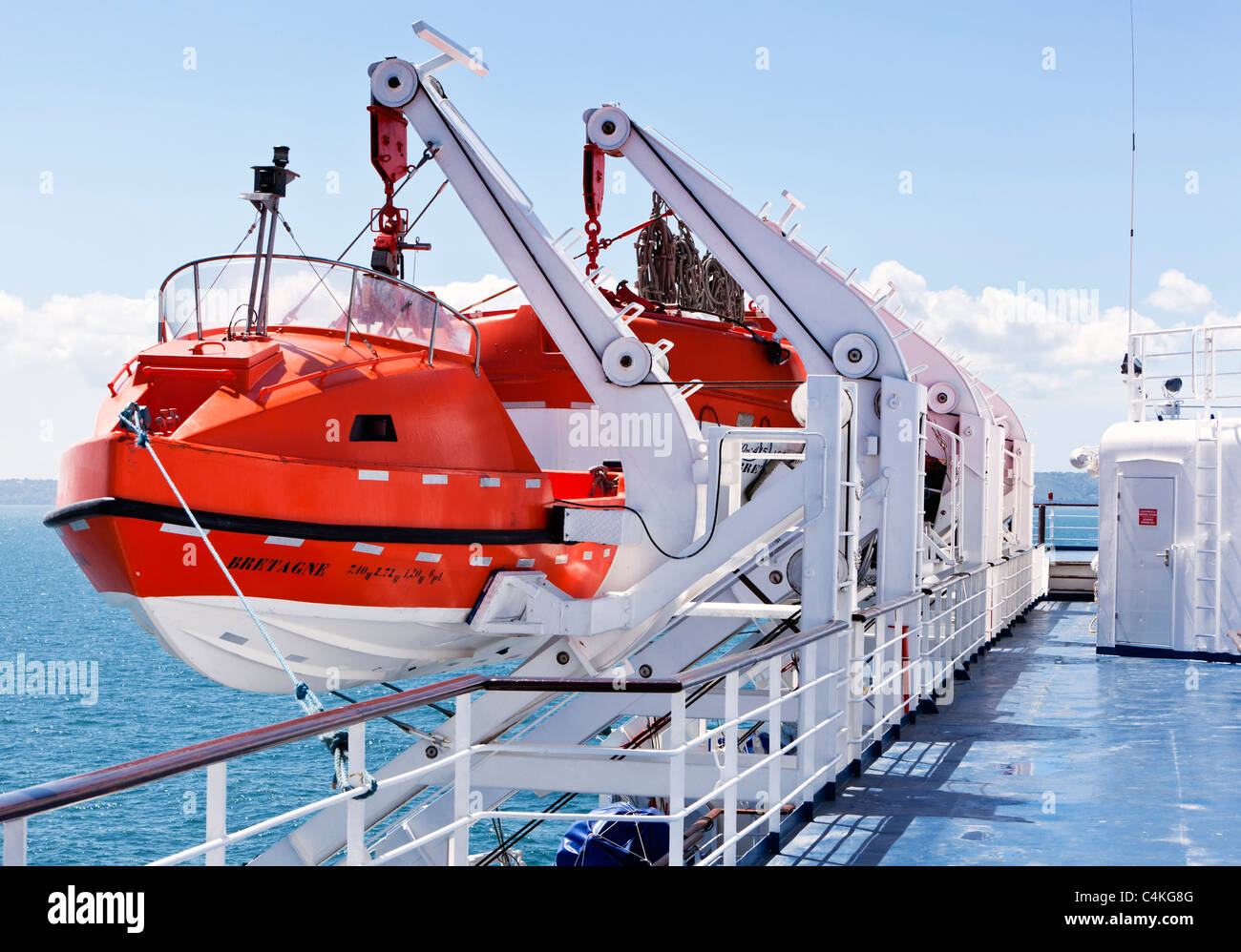 Lifeboats on board a cross channel ferry, France, Europe - Stock Image