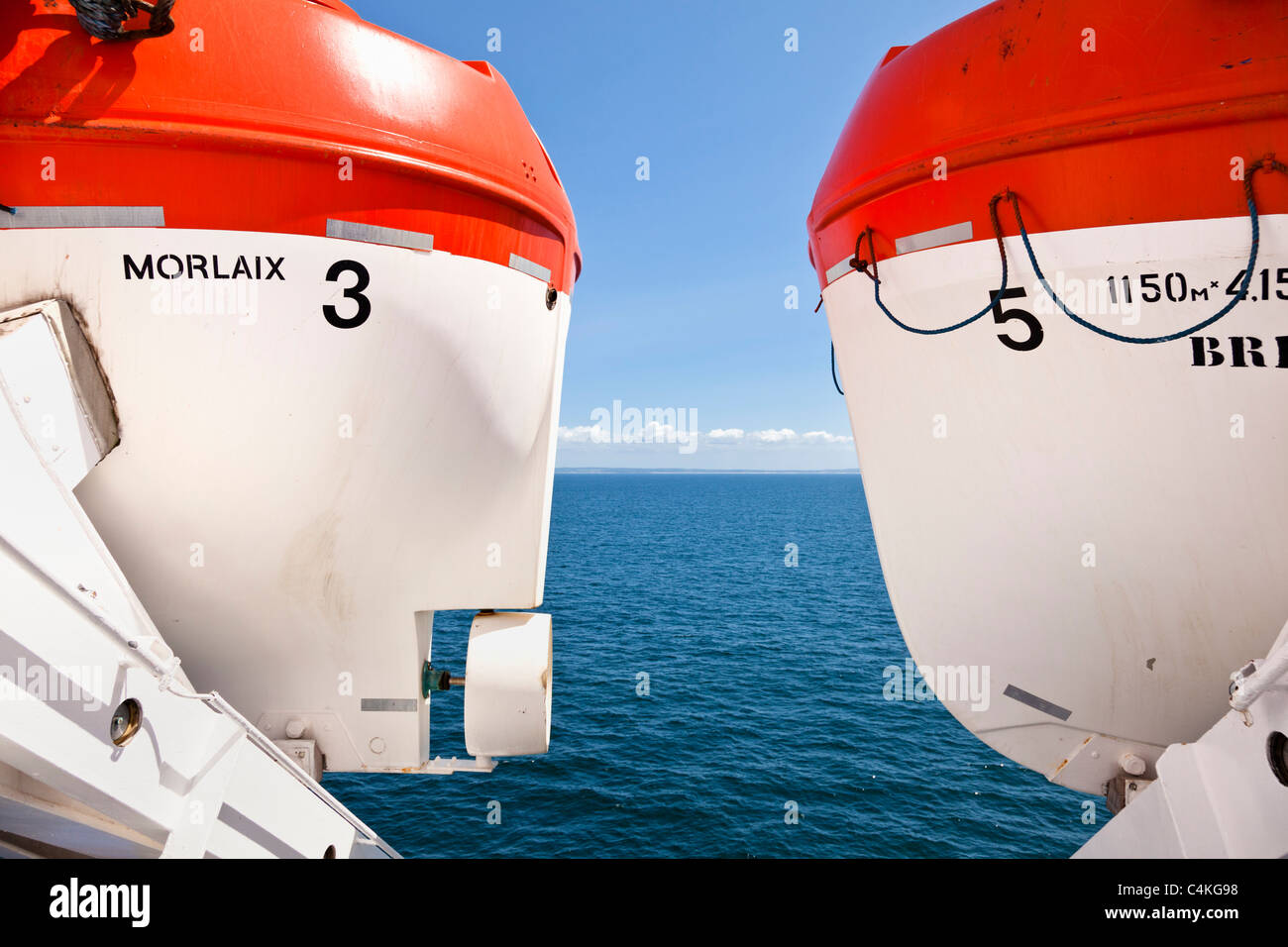 Lifeboats on board a cross channel ferry France Europe - Stock Image