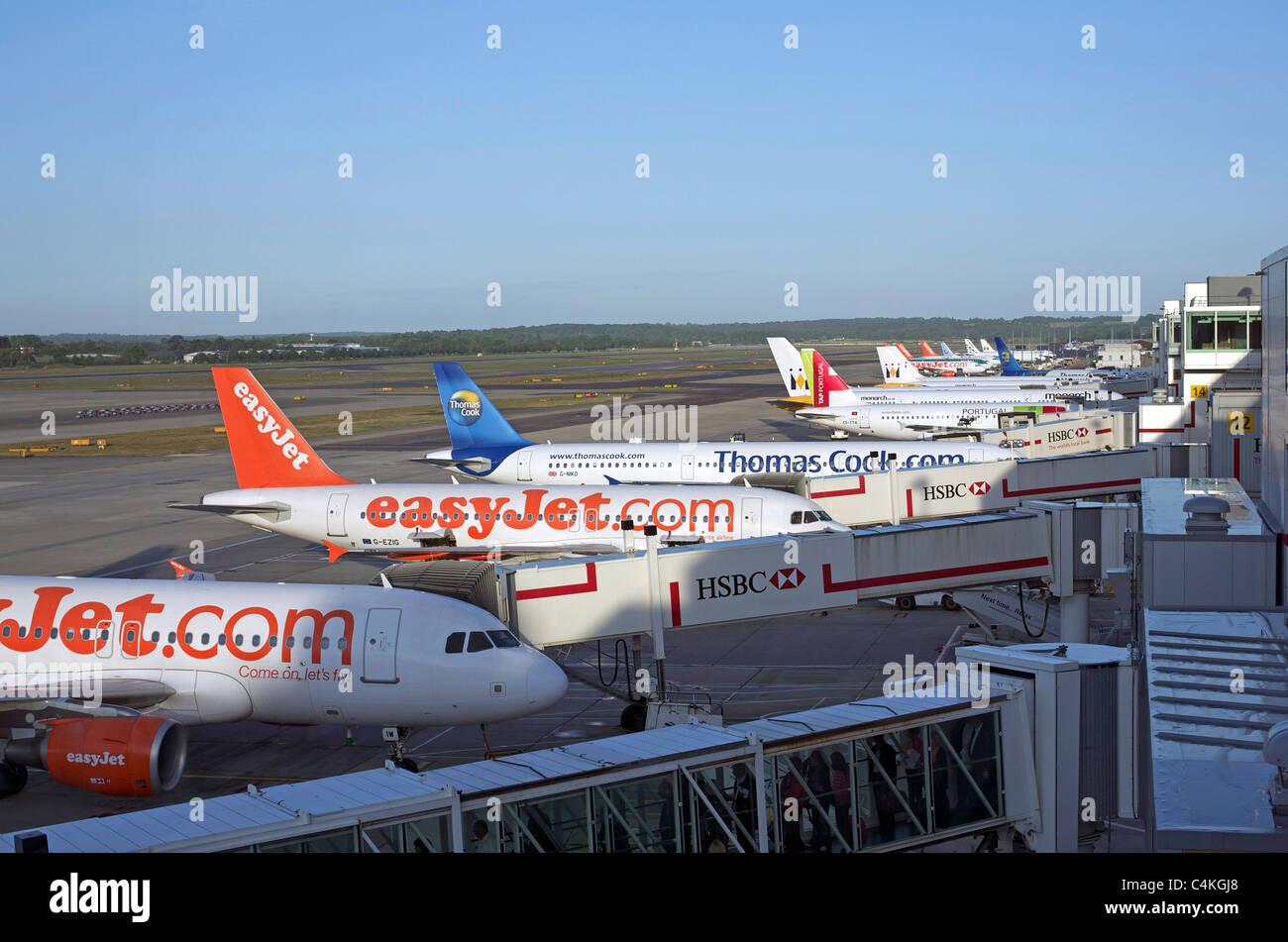 Lined up Jets Gatwick - Stock Image