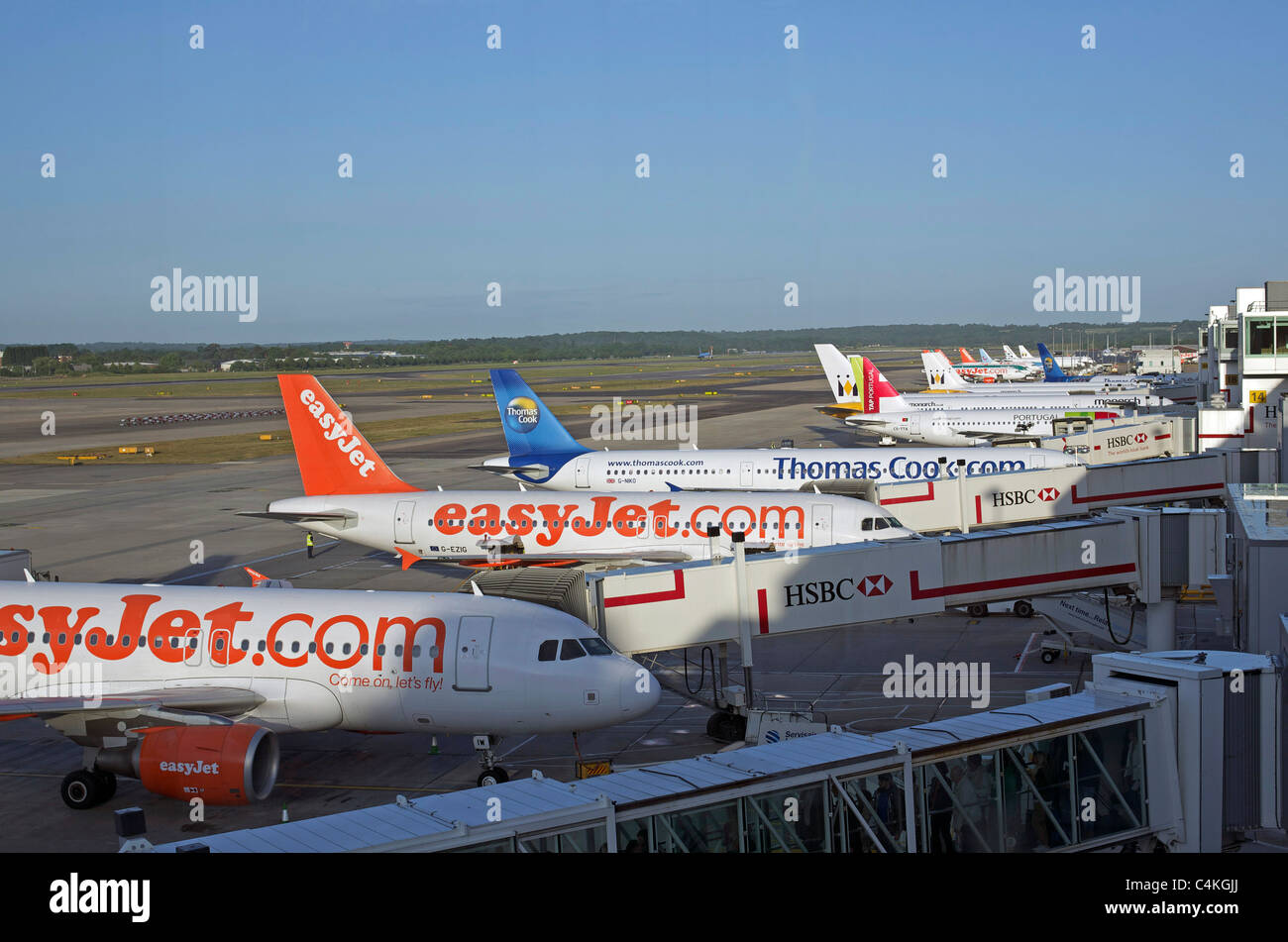 Line of jets at Gatwick Stock Photo