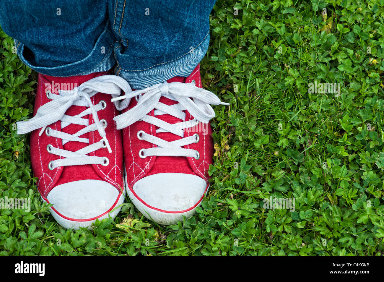 Red sneakers - Stock Image