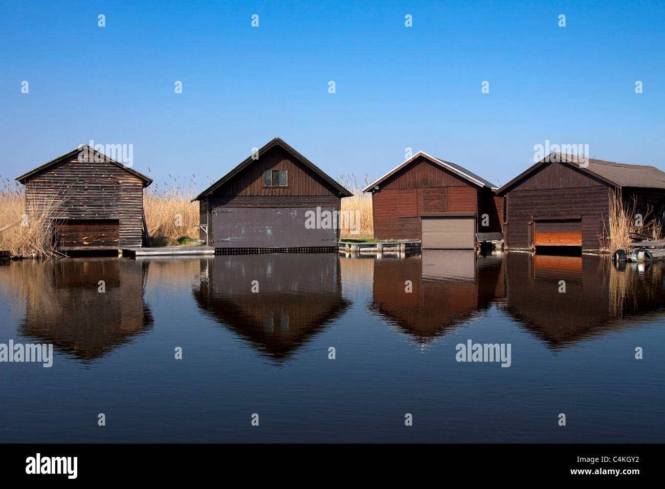 Wooden boat houses along Lake Neusiedel at Rust, Burgenland, Austria Stock Photo