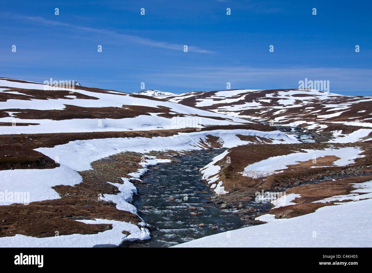 River in spring at Borgafjäll / Borgafjaell in Jämtland, northern Sweden - Stock Image