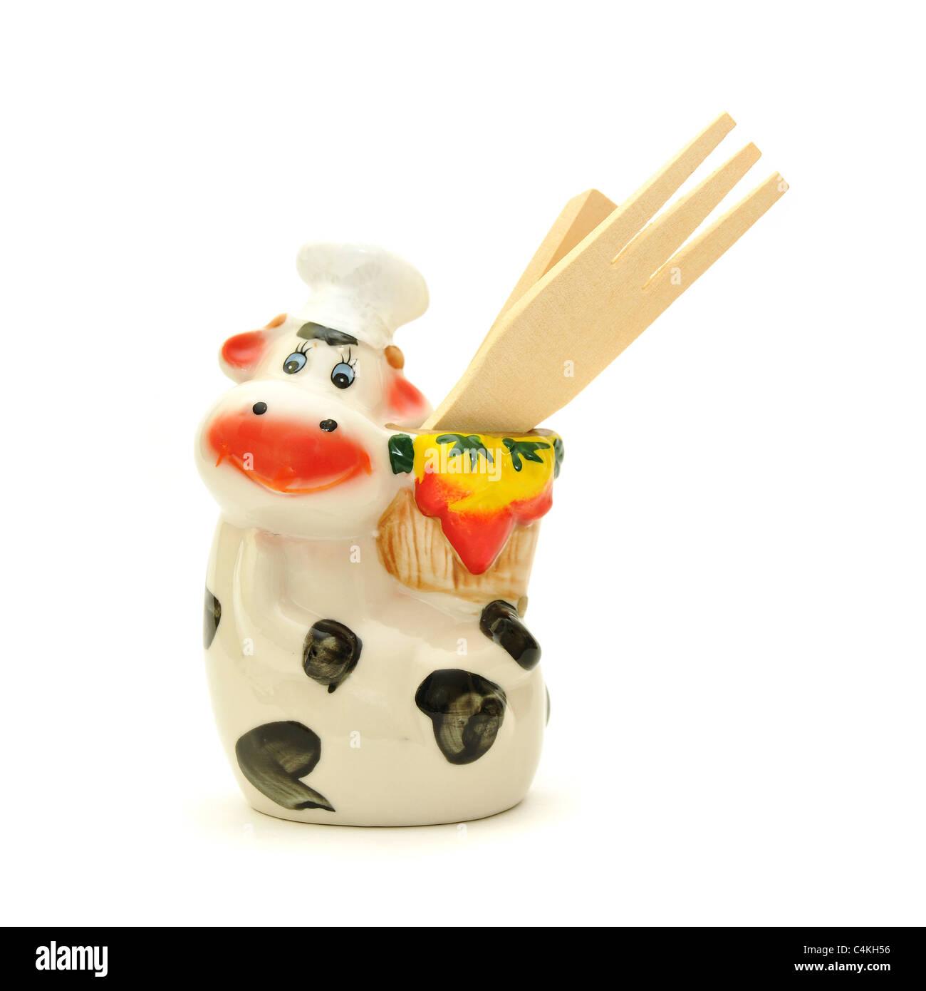 A cow chef, kitchen utensil holder Stock Photo