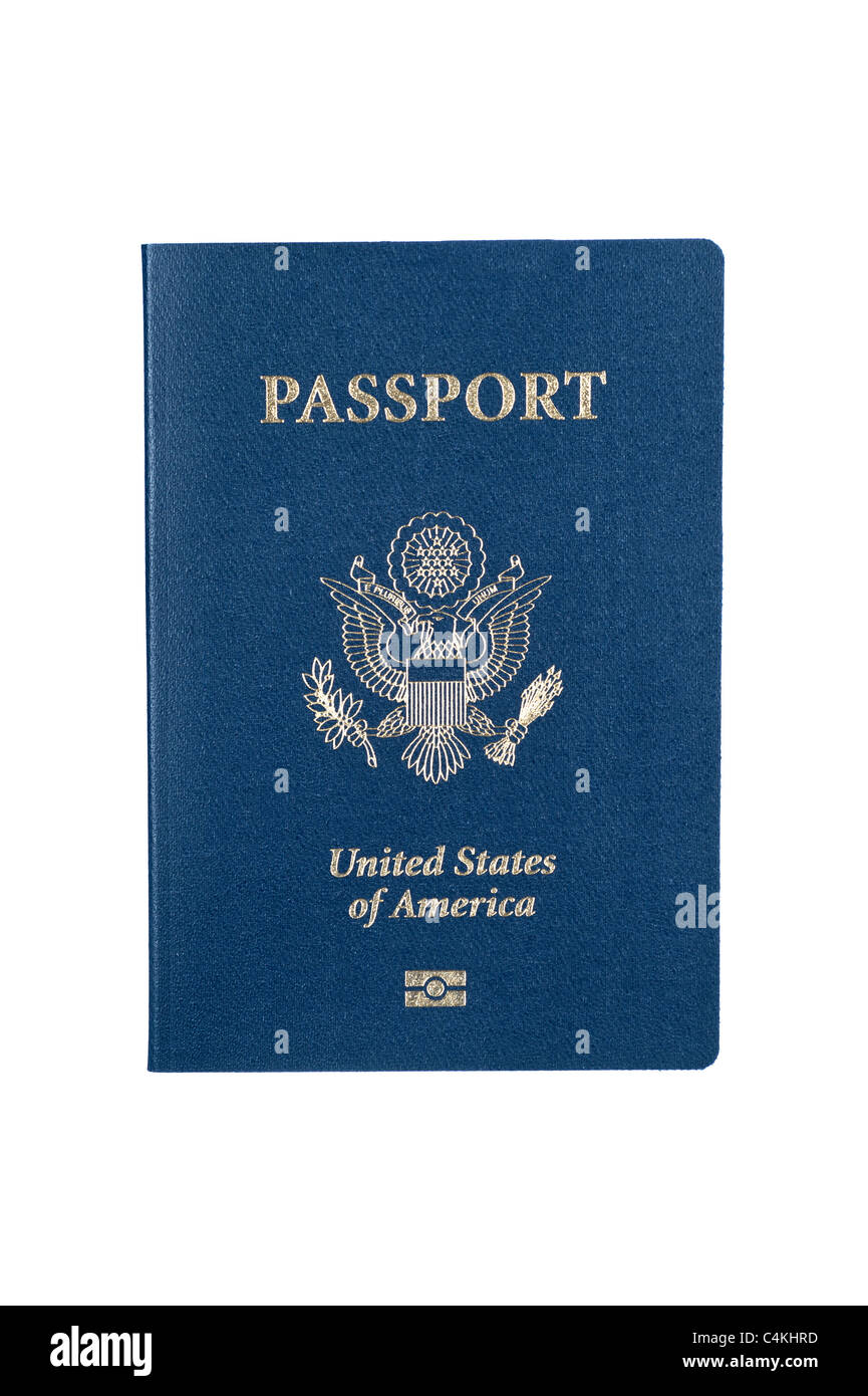 A new USA passport isolated on white - Stock Image
