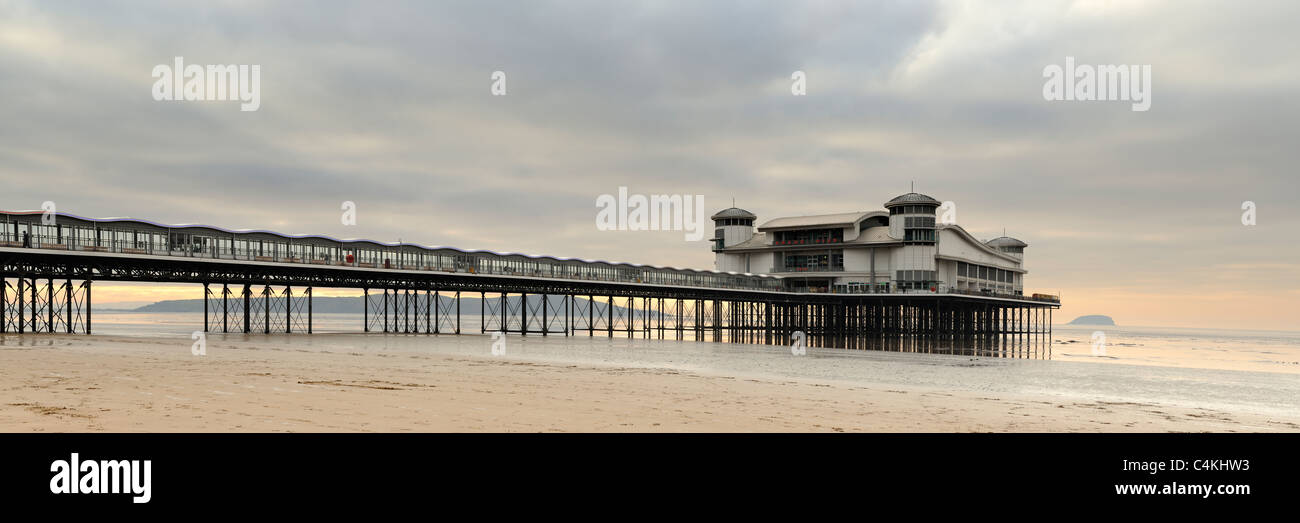 A panoramic view of the Grand Pier at Weston-Super-Mare, Somerset, UK. - Stock Image