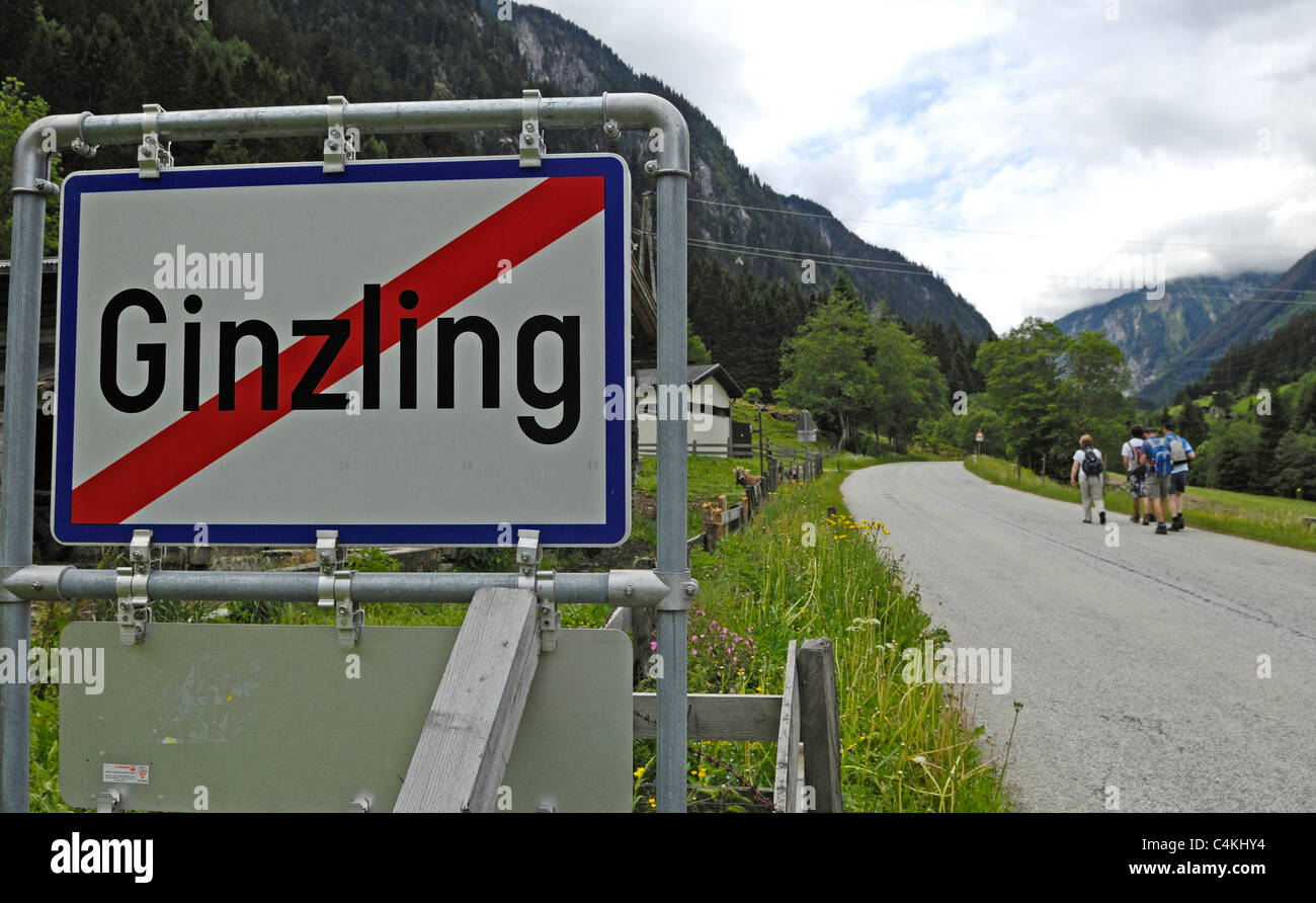 Road sign showing that you are leaving Ginzling, a small Austrian village near Mayrhofen. Stock Photo