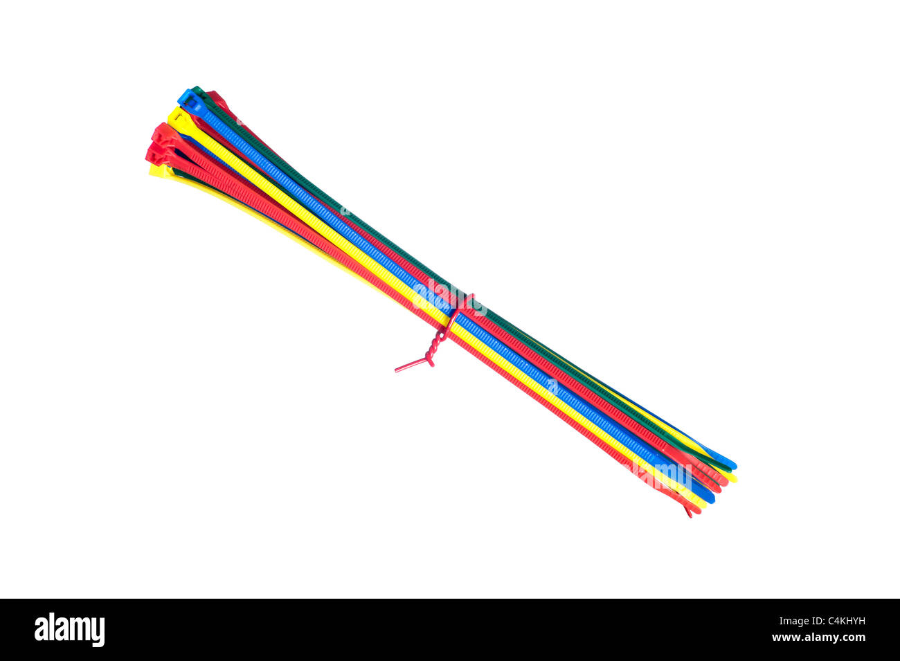 A group of cable zip ties isolated on white. - Stock Image