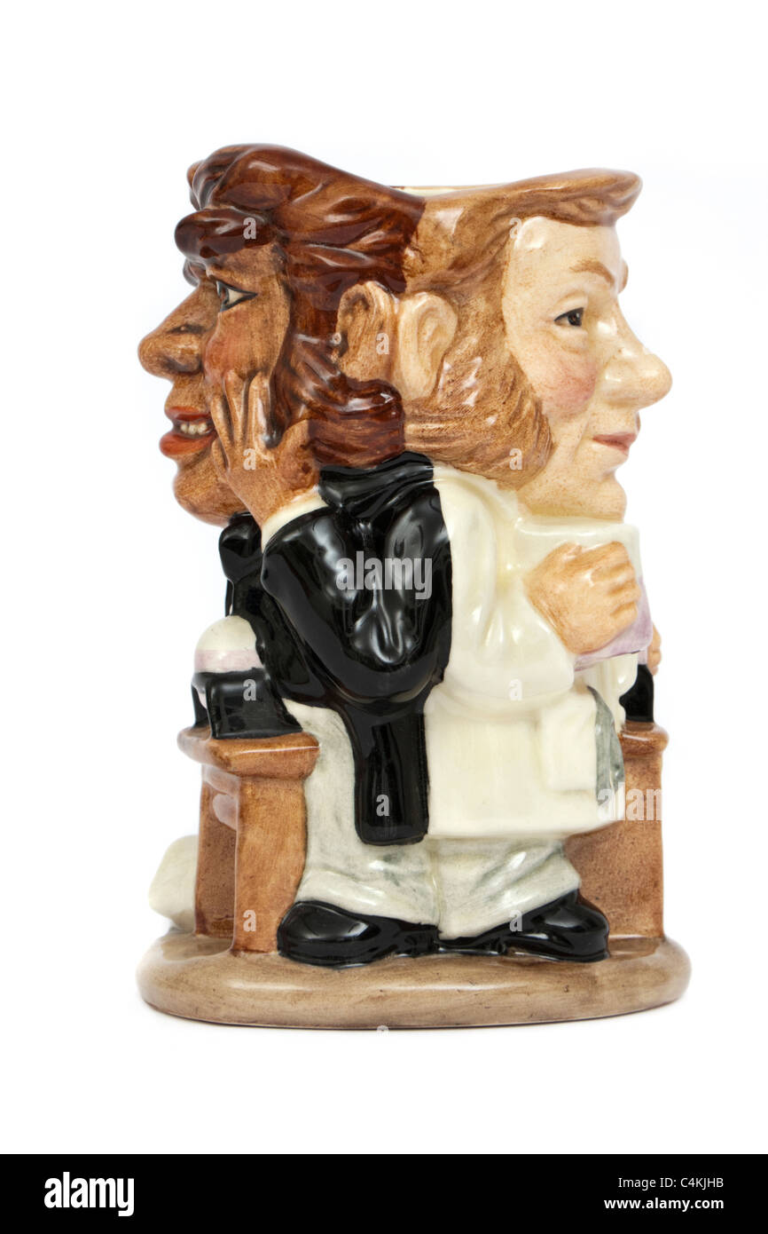 Royal Doulton double sided 'Dr Jekyll and Mr Hyde' character jug (design D7024 from 1995 by Stanley James - Stock Image