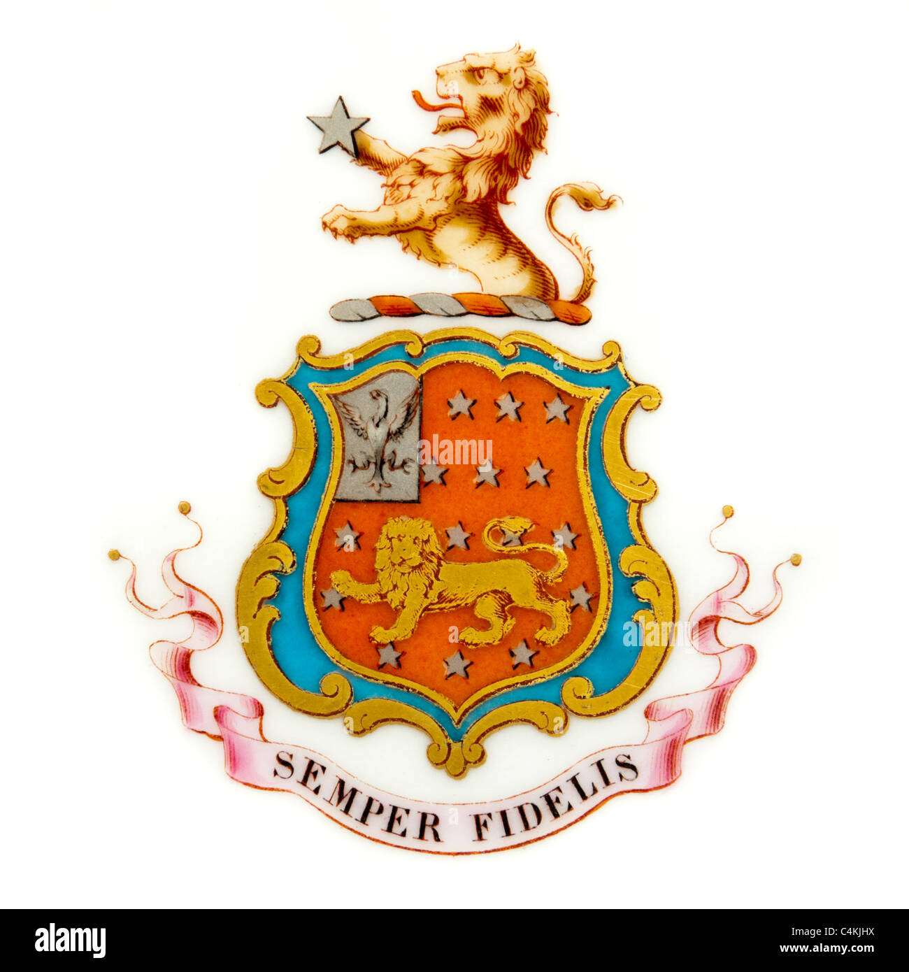 Semper Fidelis (Always Faithful), the motto of the U.S. Marine Corps and the City of Exeter (UK) Stock Photo