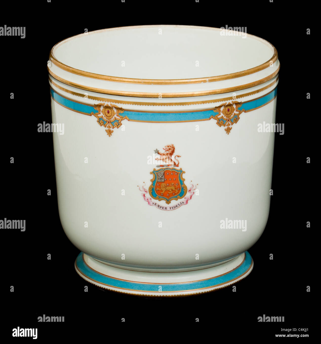 "Antique French ceramic Jardiniere with ""Semper Fidelis"" (Always Faithful) motto Stock Photo"