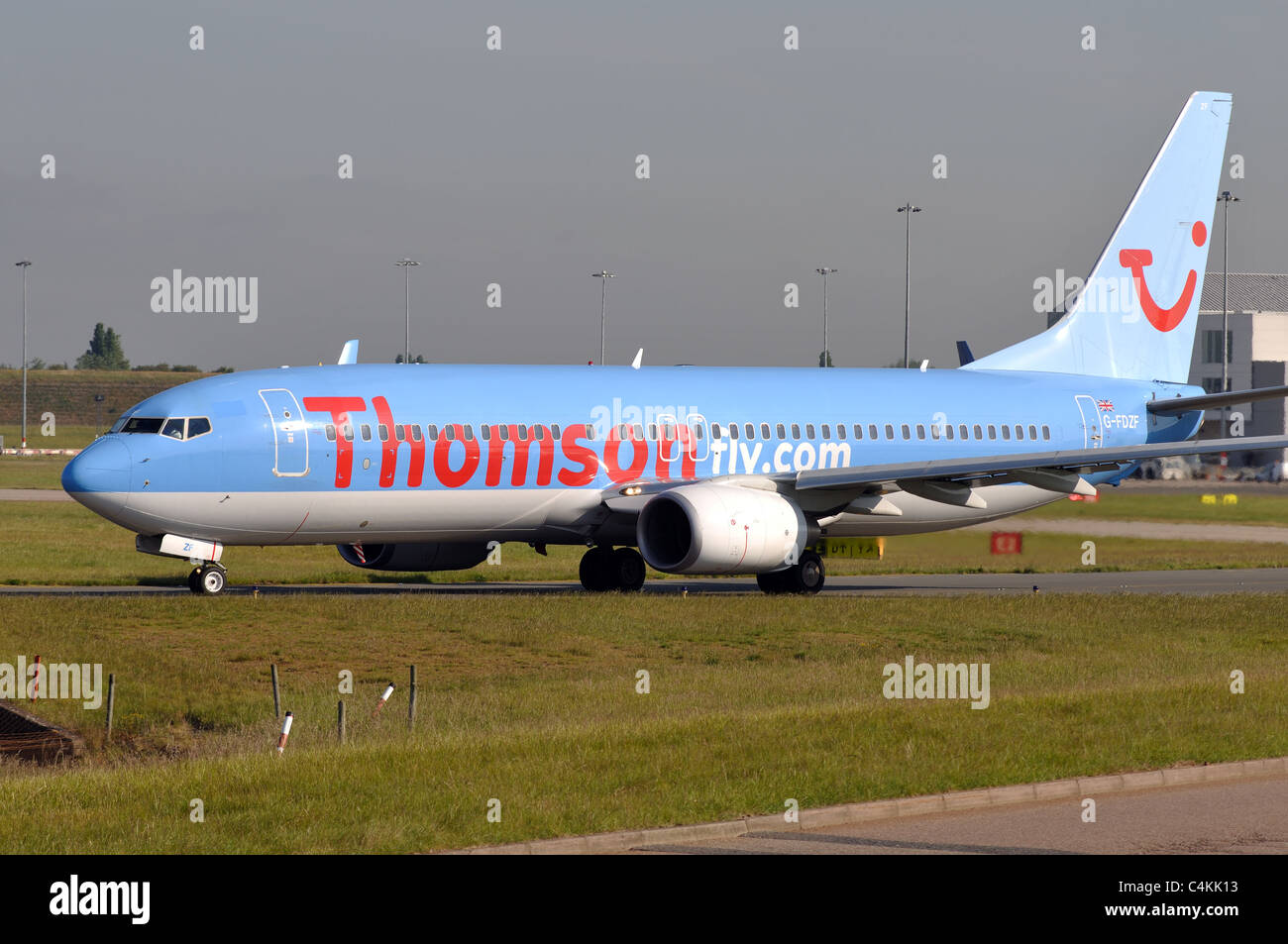 Thomson Boeing 737 aircraft taxiing at Birmingham Airport, UK - Stock Image