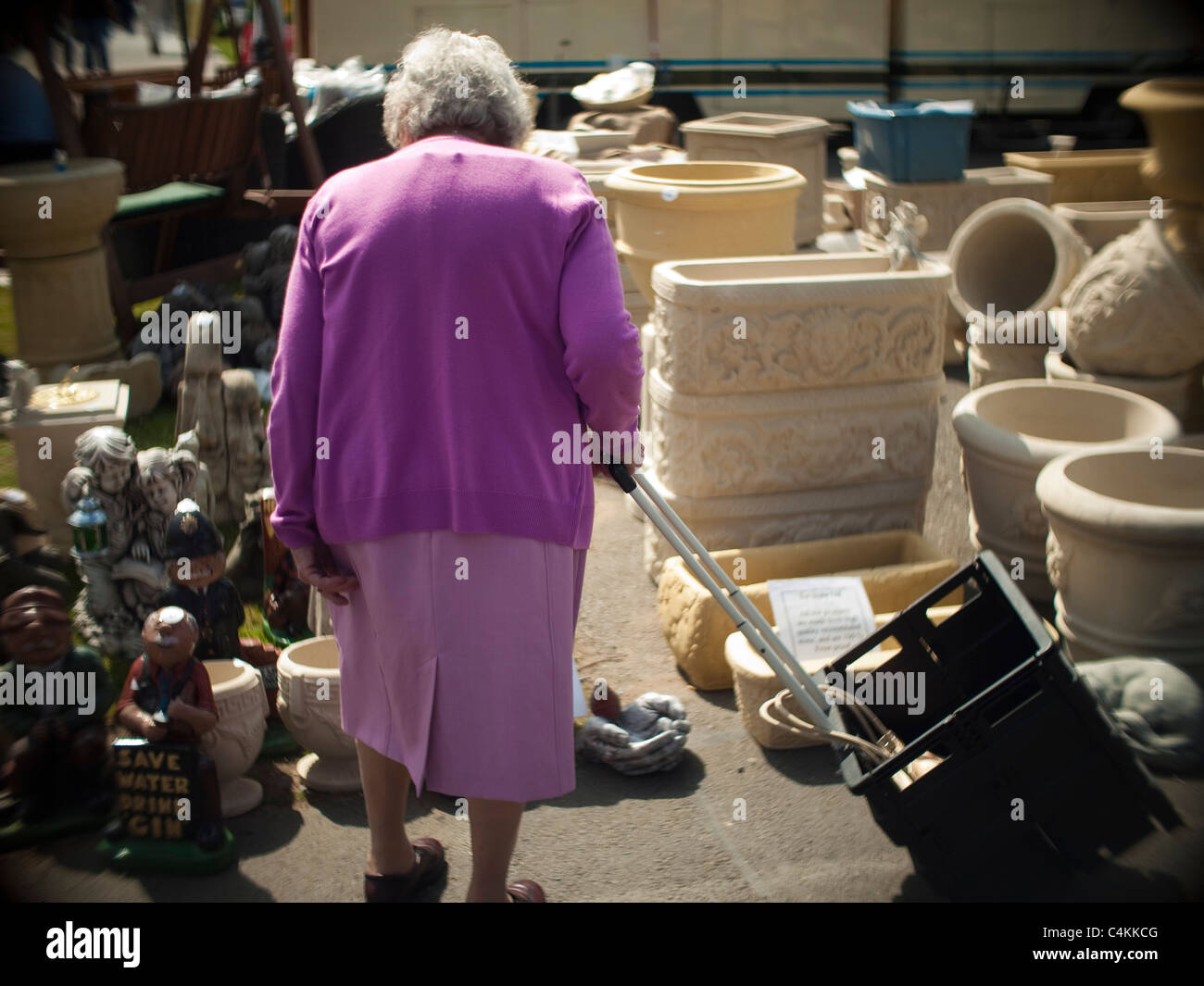 Old Lady with Trolley Dressed in Purple - Stock Image